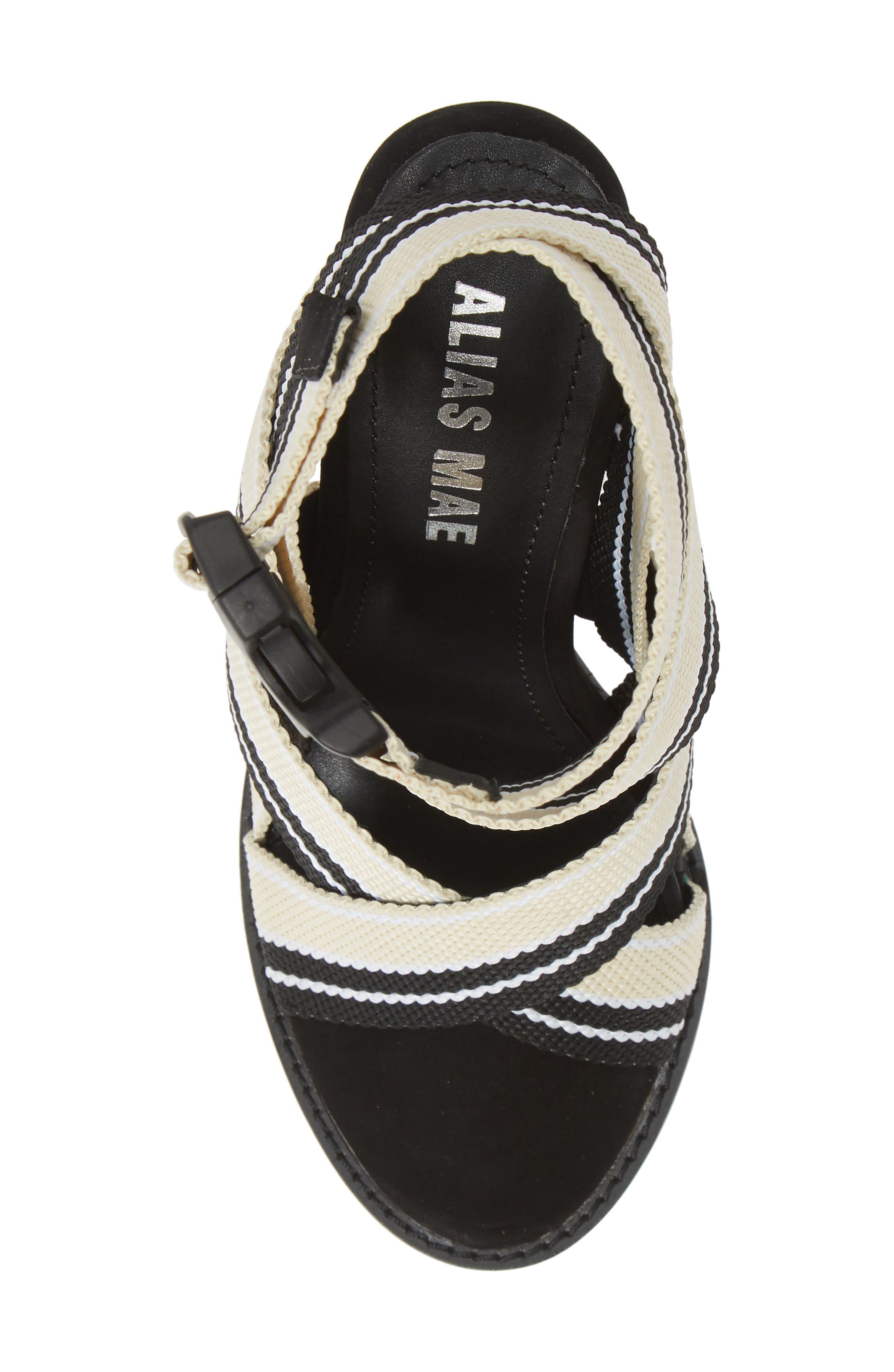 ALIAS MAE, Woven Strappy Sandal, Alternate thumbnail 5, color, NUDE/ BLACK FABRIC