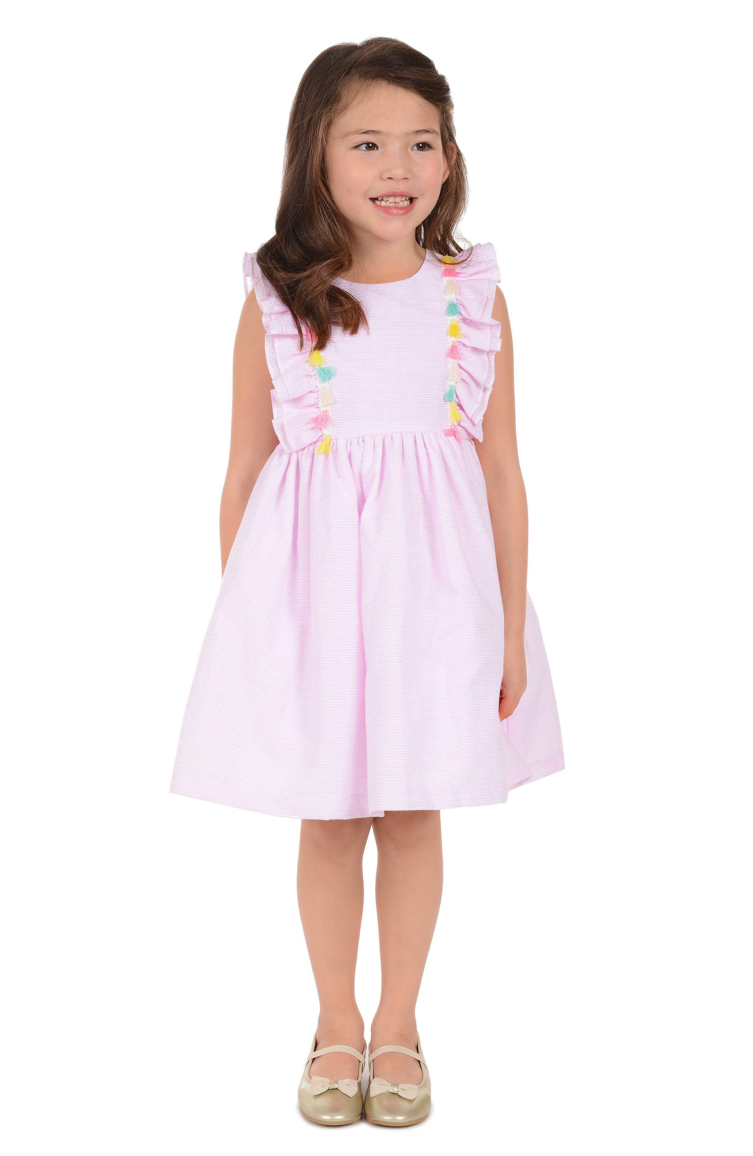 PIPPA & JULIE, Tassel Trim Seersucker Dress, Alternate thumbnail 2, color, 650