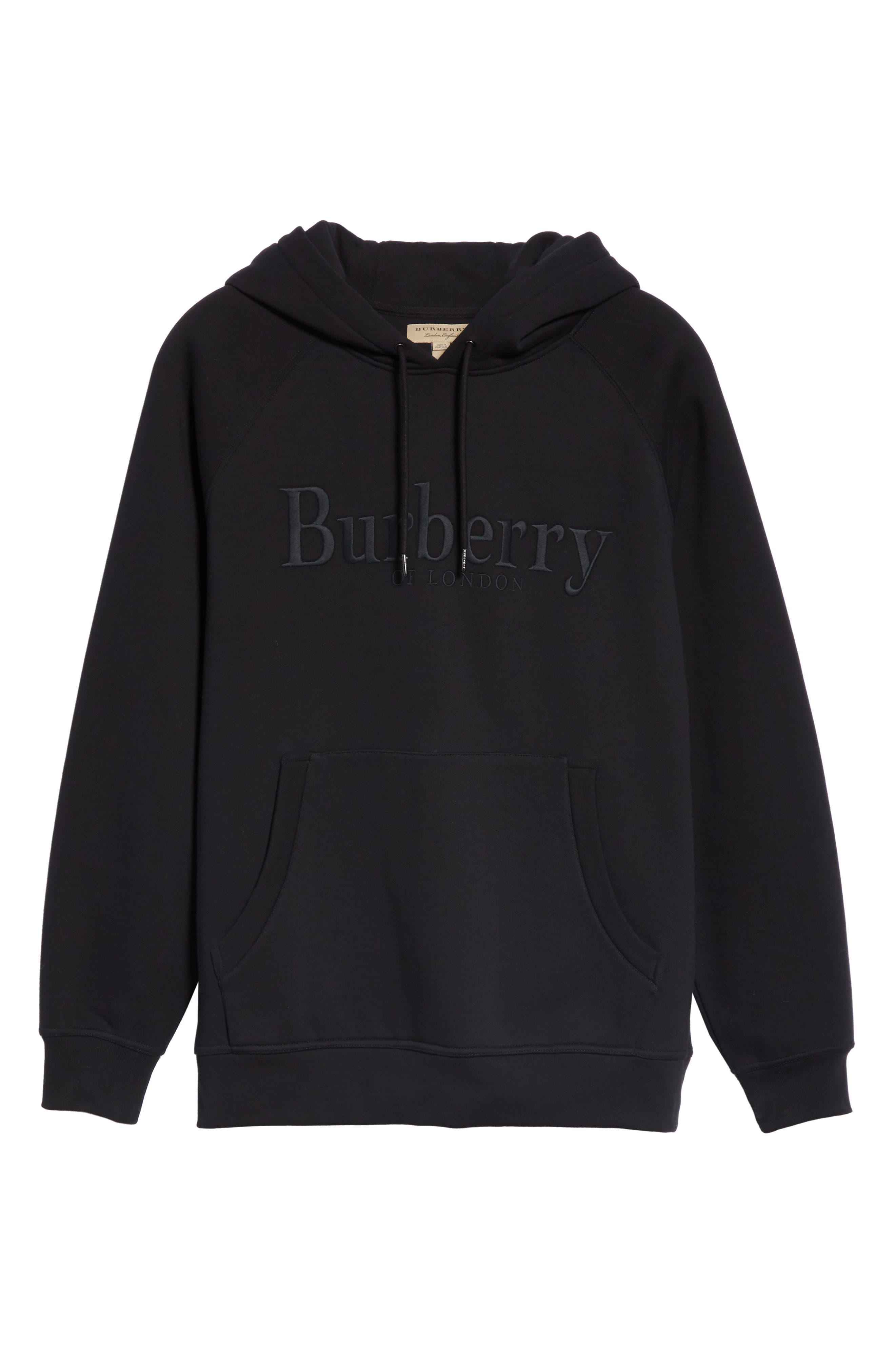 BURBERRY, Clarke Logo Hoodie, Alternate thumbnail 6, color, BLACK