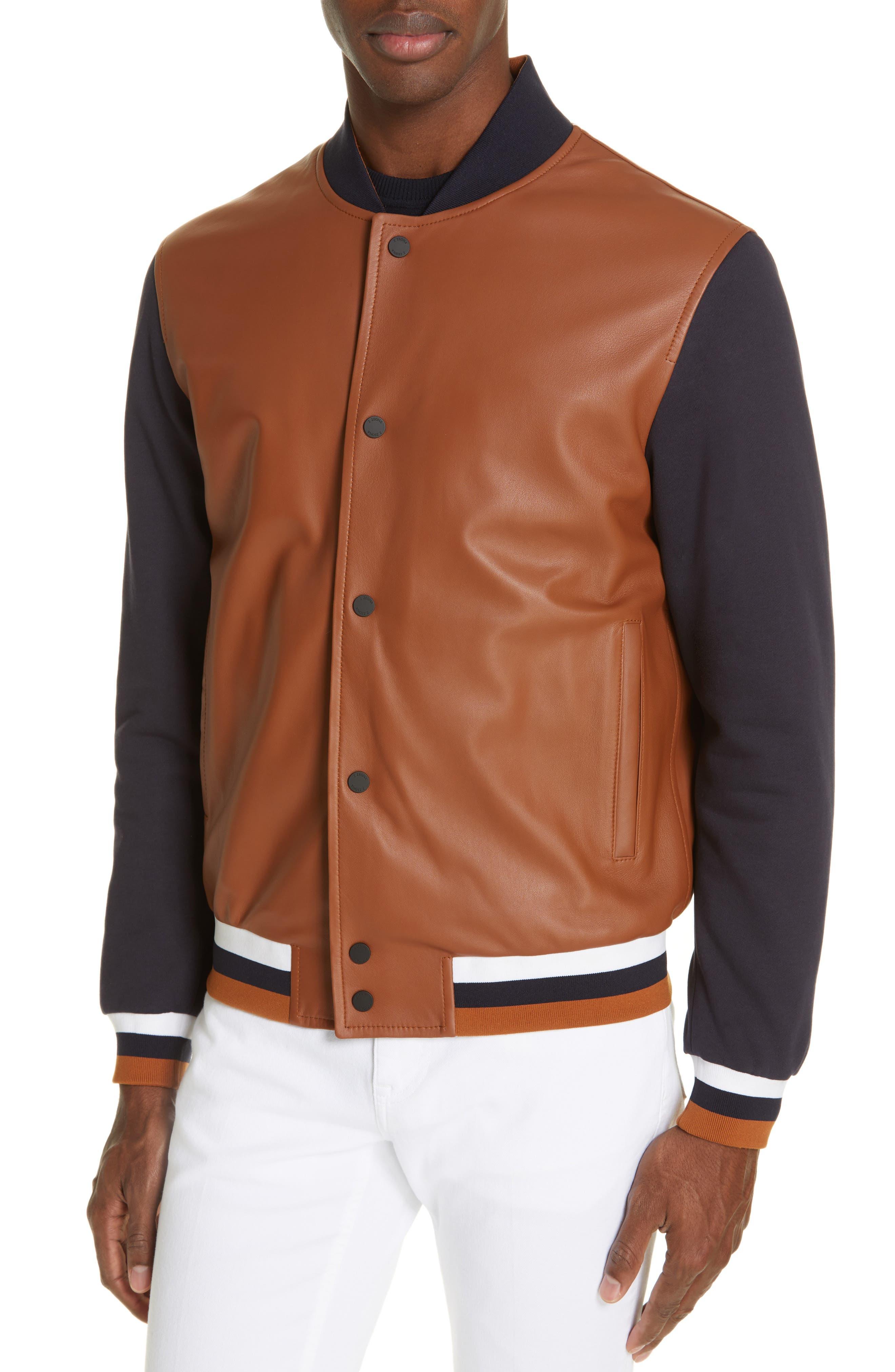Z ZEGNA, Contrast Leather Bomber Jacket, Alternate thumbnail 4, color, NAVY/ BROWN
