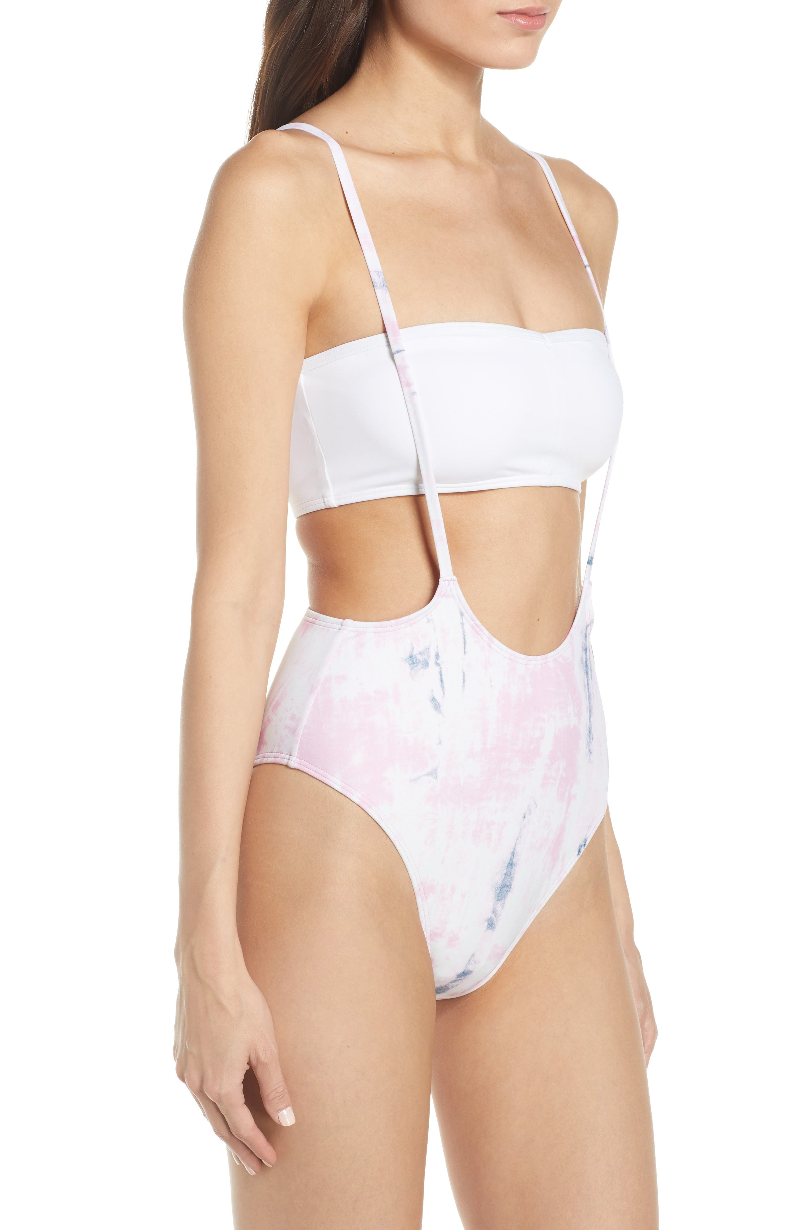 SOMETHING NAVY, Suspender High Cut One-Piece Swimsuit, Alternate thumbnail 5, color, PINK CHIFFON SPRING WASH