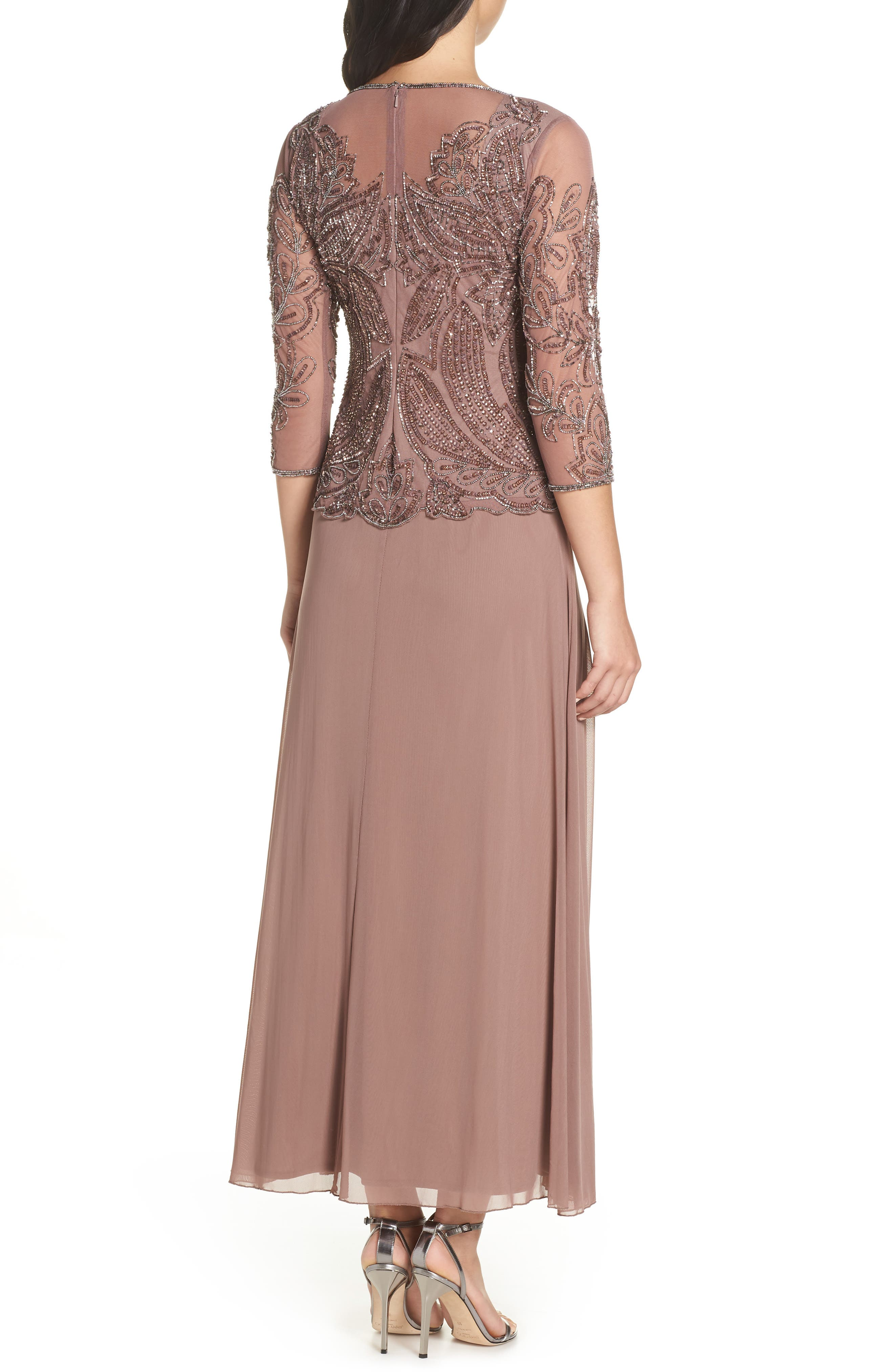 PISARRO NIGHTS, Embellished Mesh Gown, Alternate thumbnail 2, color, MAUVE