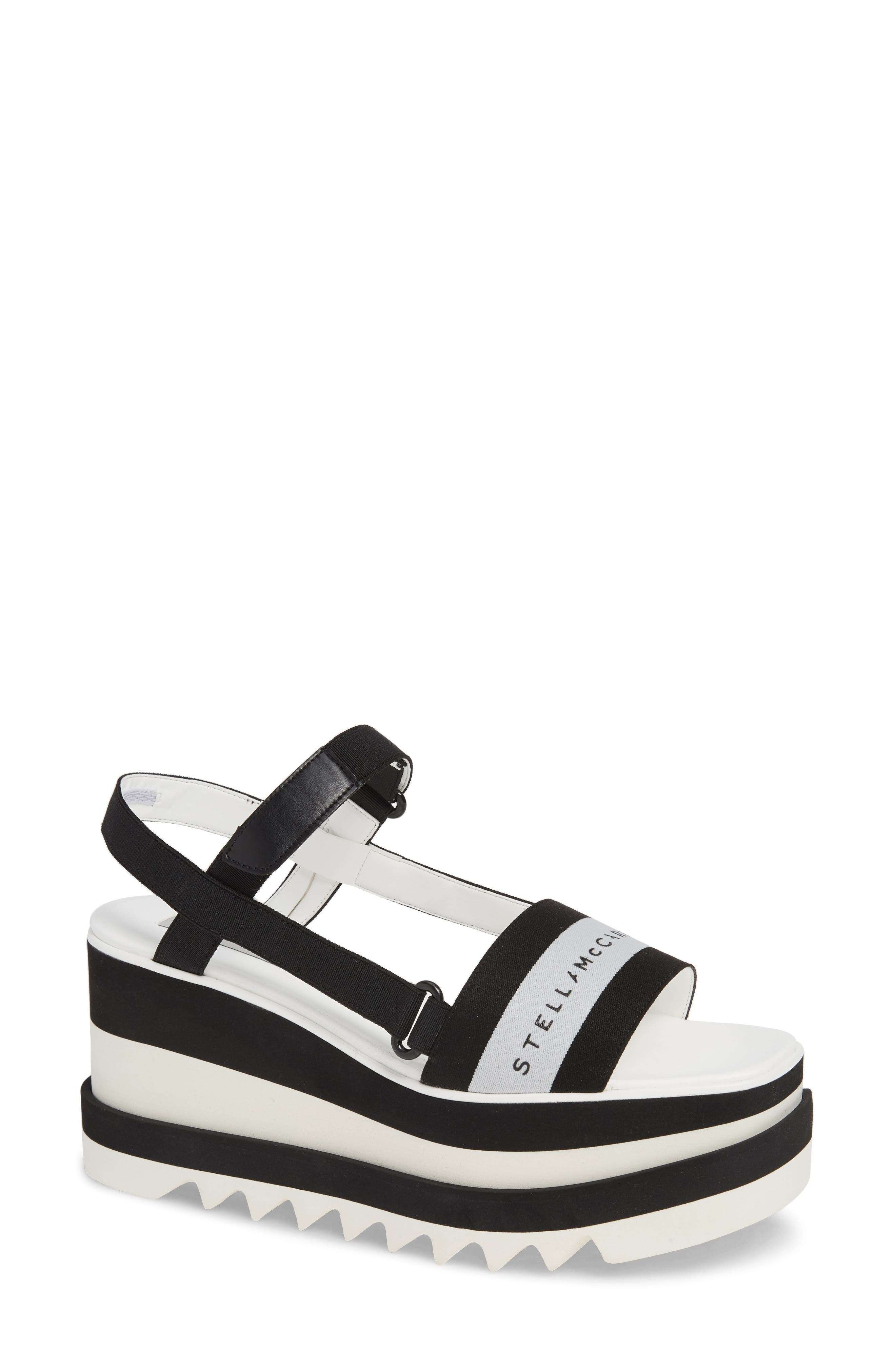 STELLA MCCARTNEY Stripe Logo Platform Sandal, Main, color, BLACK/ WHITE