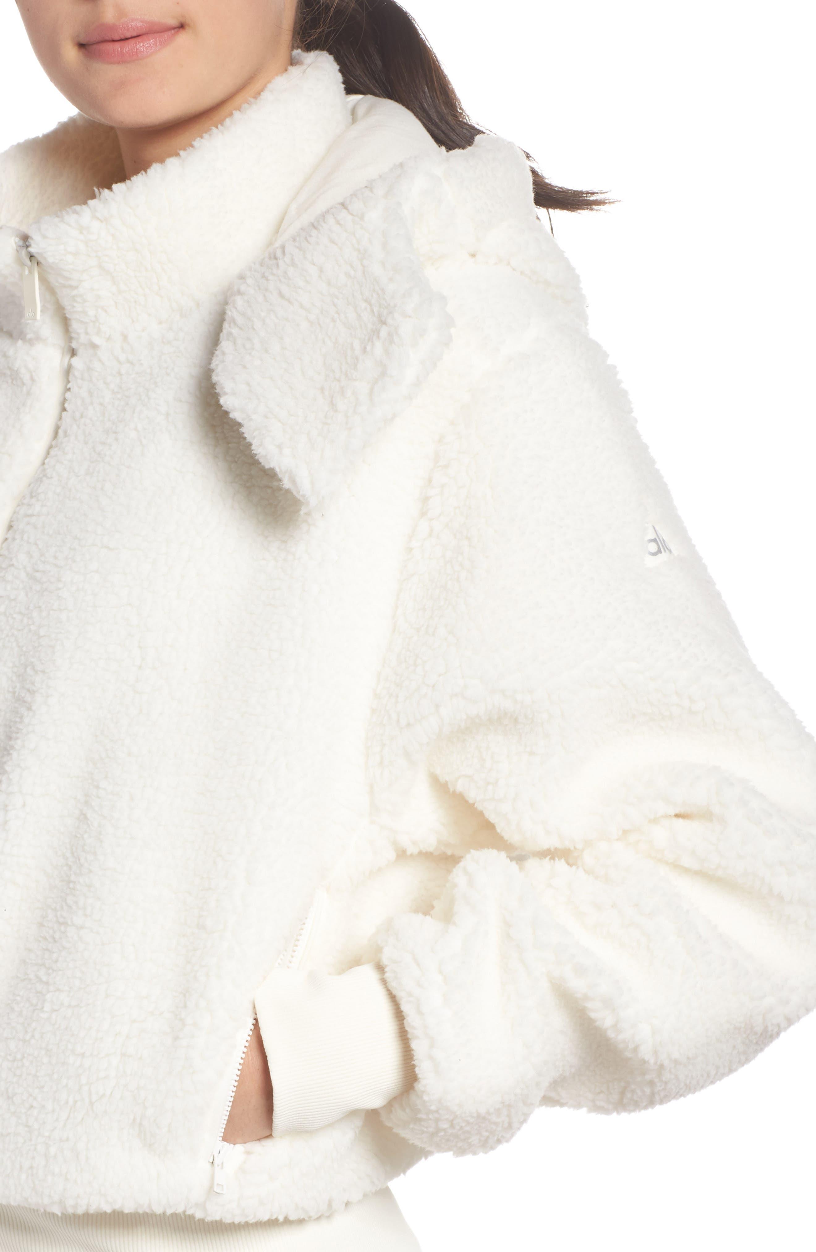 ALO, Foxy Faux Fur Jacket, Alternate thumbnail 5, color, PRISTINE