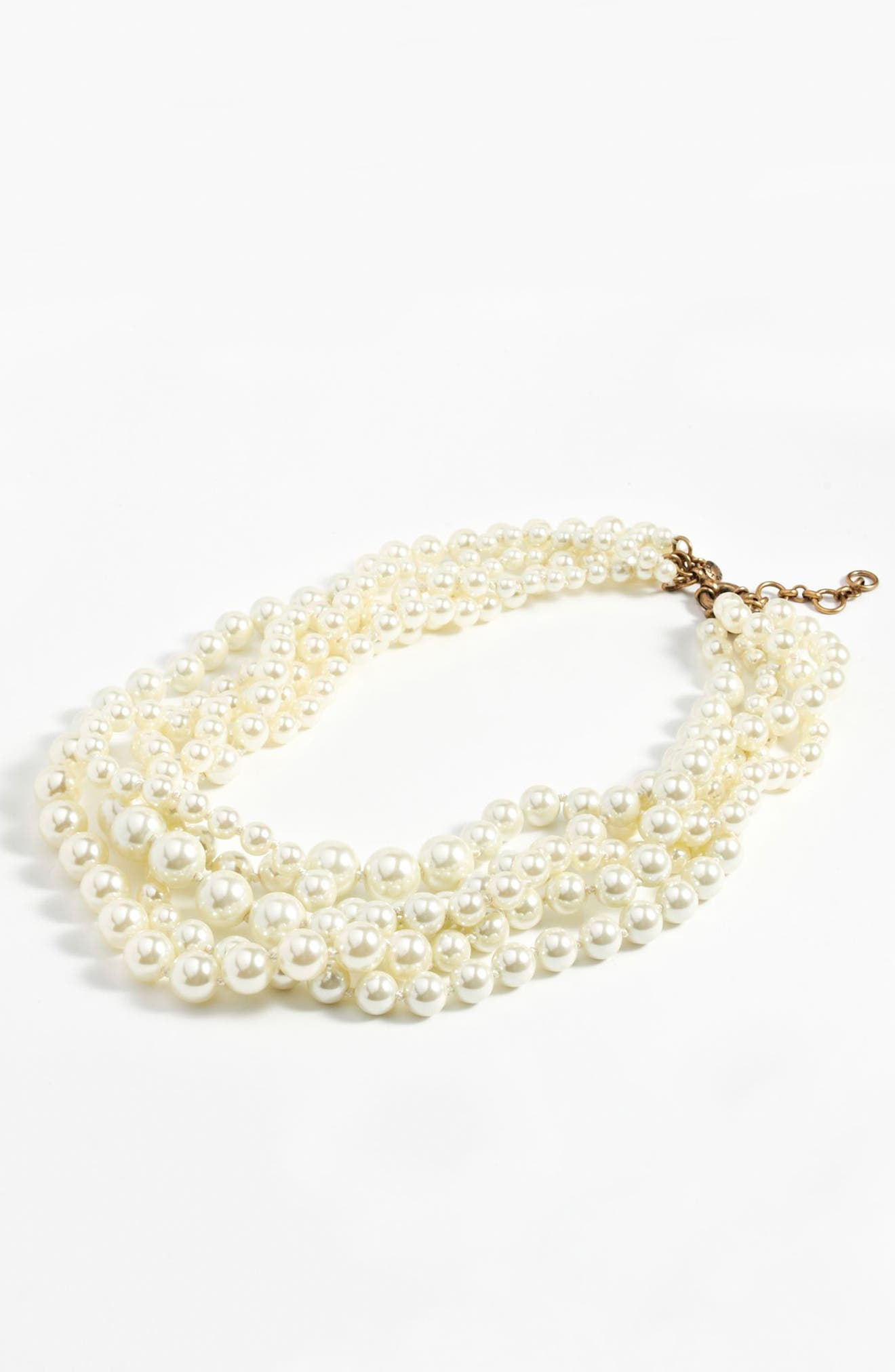 J.CREW, Imitation Pearl Hammock Necklace, Alternate thumbnail 2, color, 100