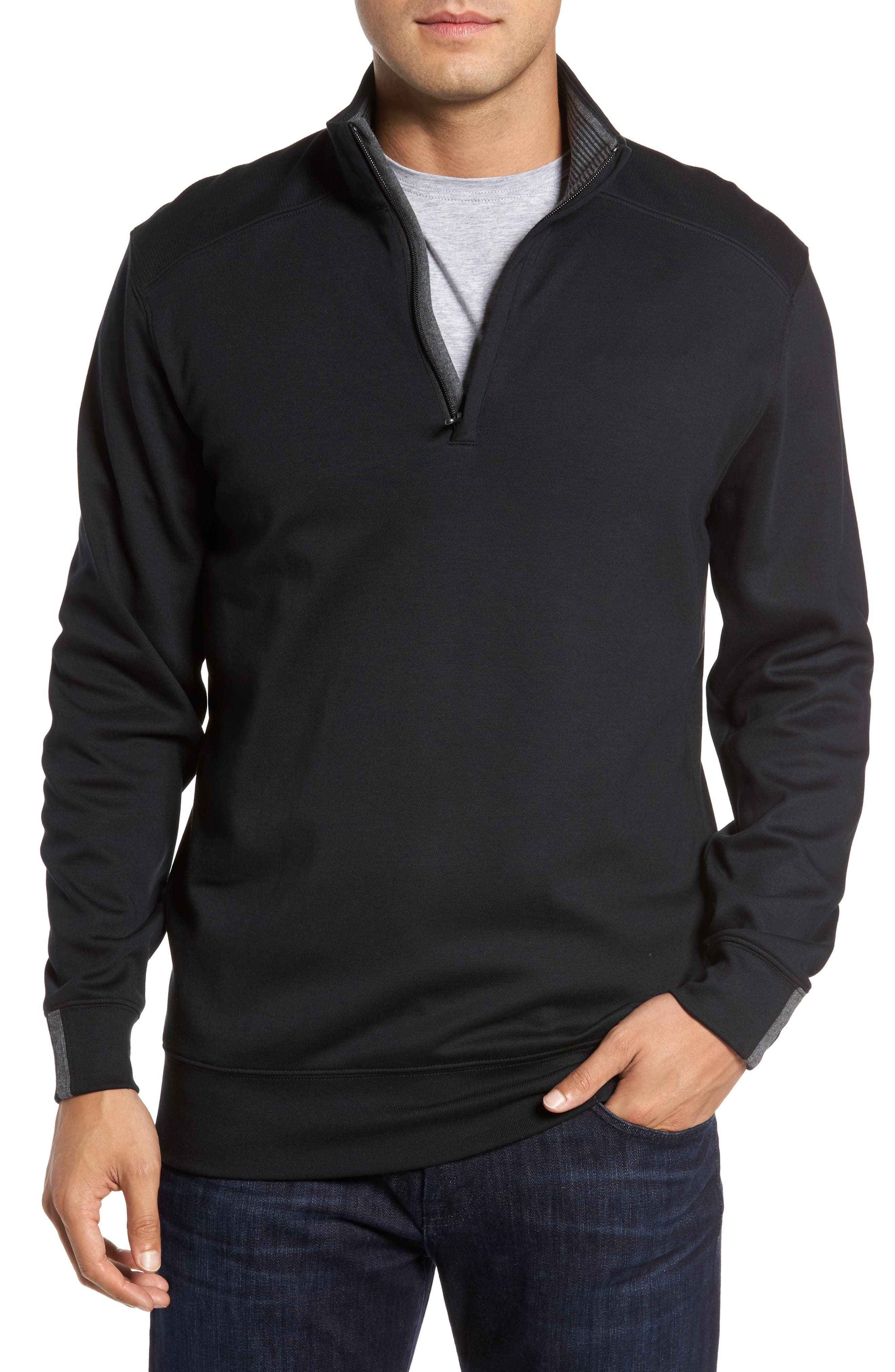 BOBBY JONES 'New Leaderboard' Quarter Zip Pullover, Main, color, BLACK