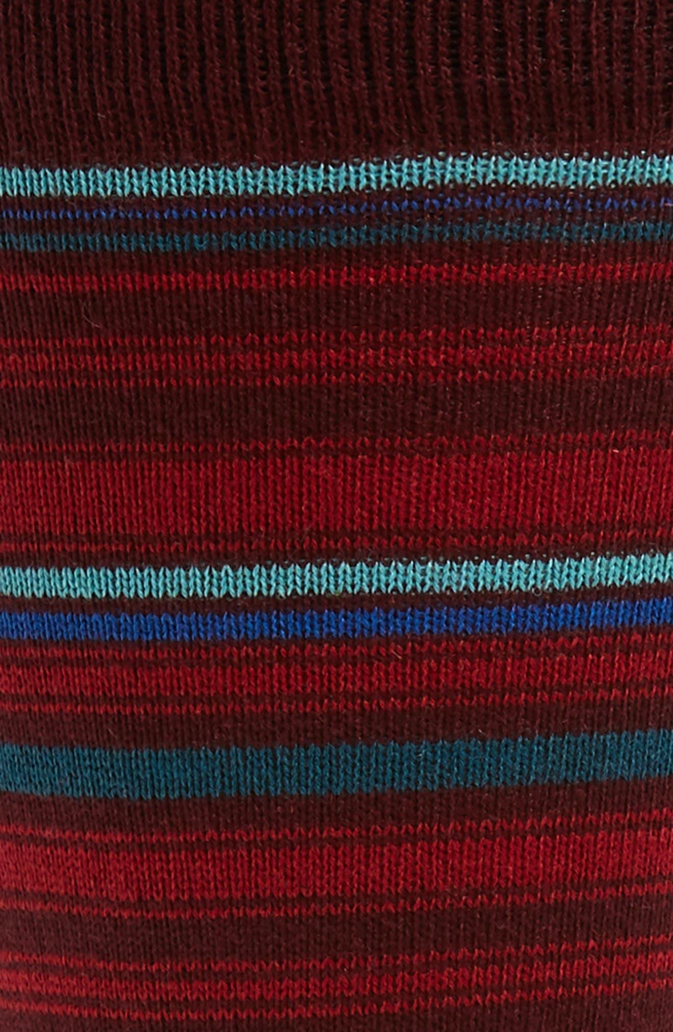 BUGATCHI, Stripe Socks, Alternate thumbnail 2, color, MAROON
