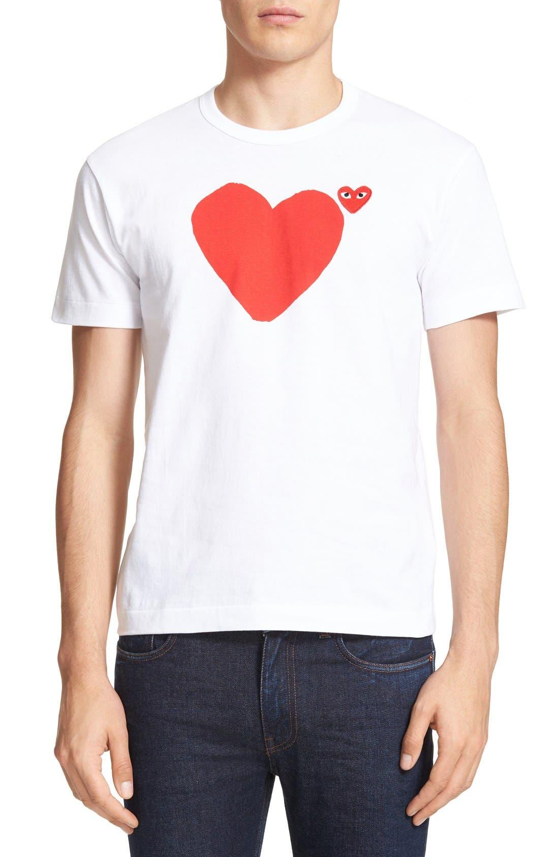 COMME DES GARÇONS PLAY, Graphic T-Shirt, Main thumbnail 1, color, WHITE 1