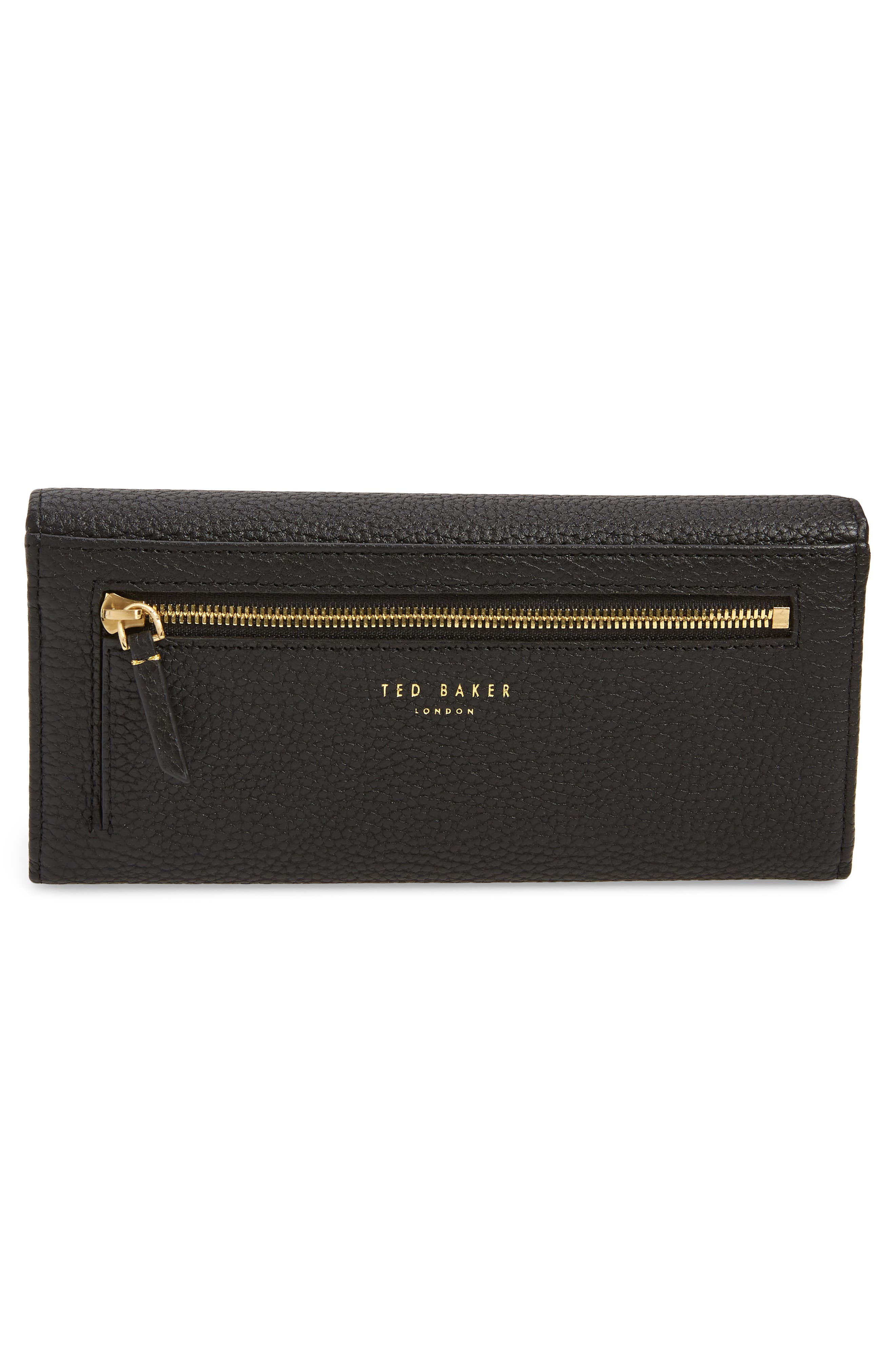 TED BAKER LONDON, Bevv Bow Leather Matinée Wallet, Alternate thumbnail 3, color, BLACK