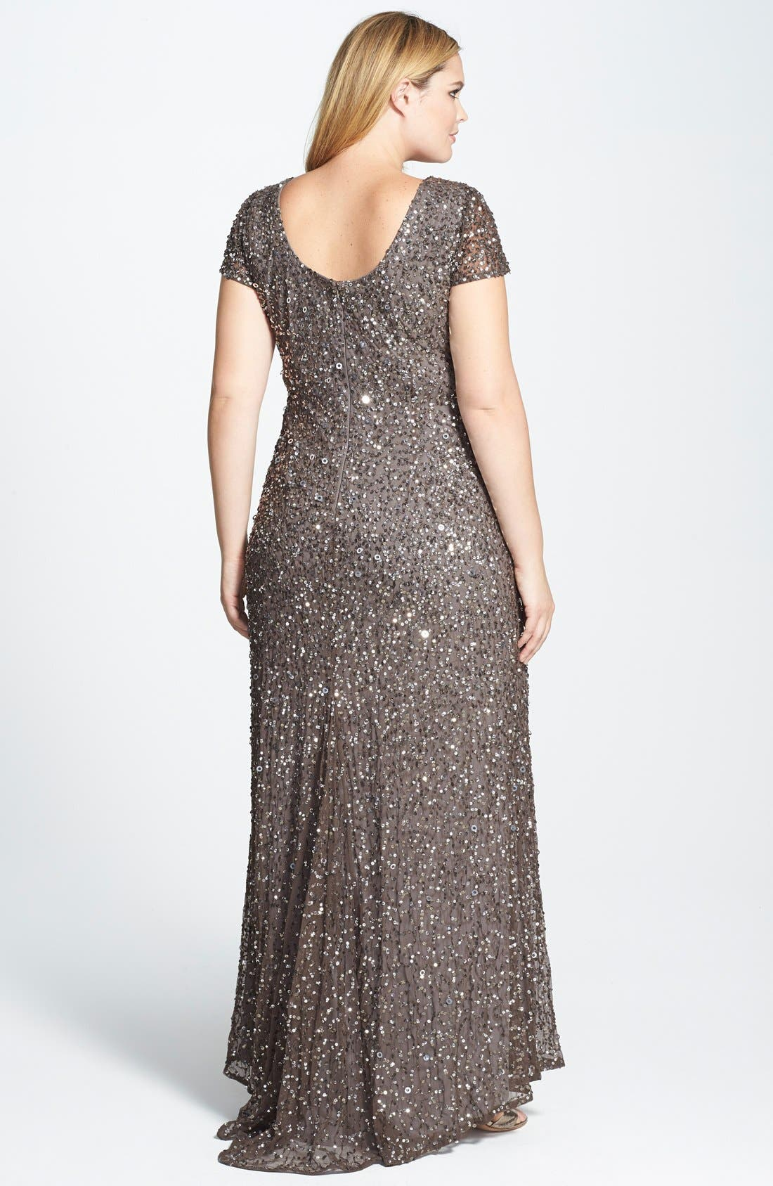ADRIANNA PAPELL, Embellished Scoop Back Gown, Alternate thumbnail 8, color, 050