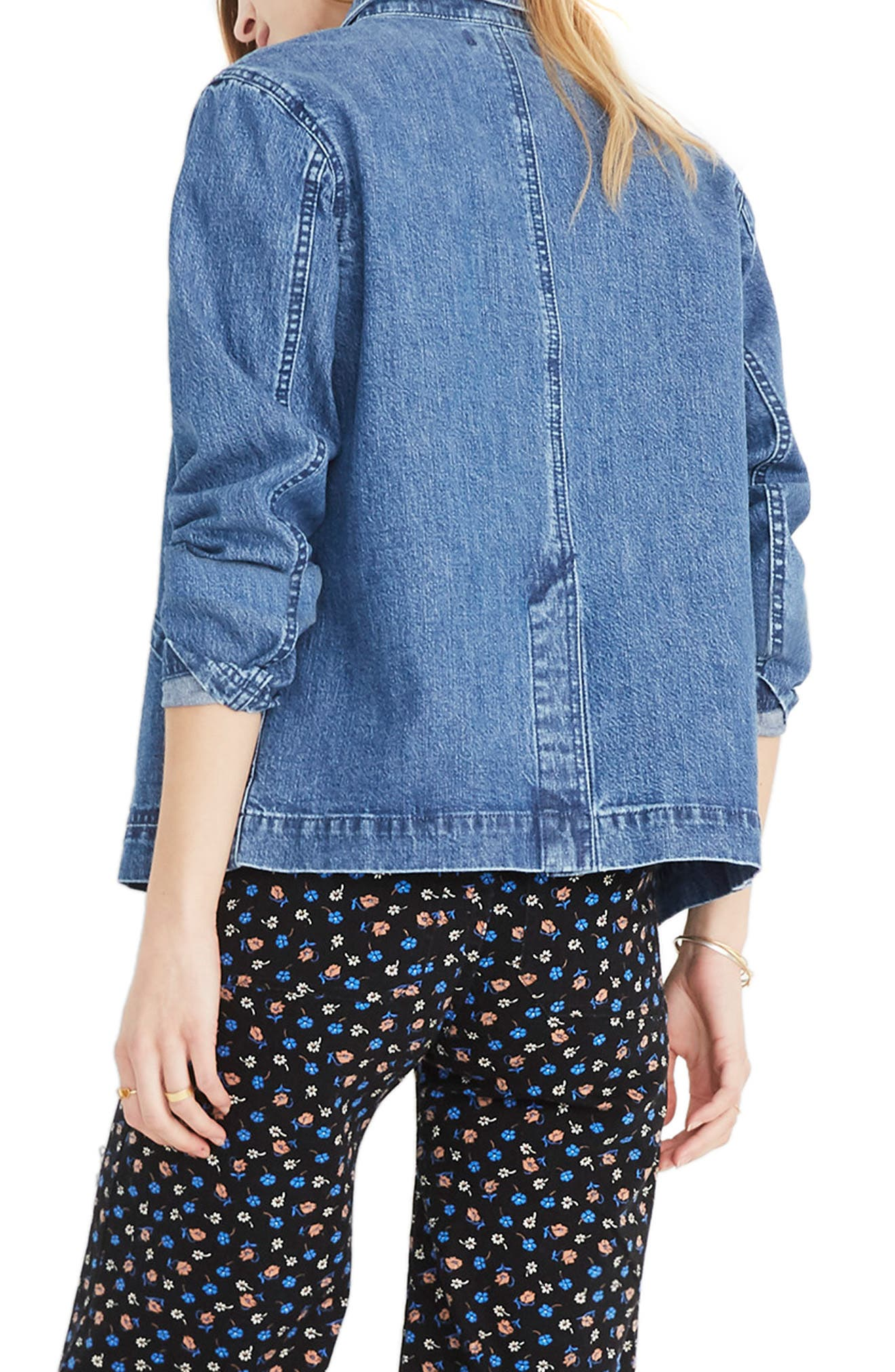 MADEWELL, Denim Patch Pocket Chore Coat, Alternate thumbnail 2, color, 400