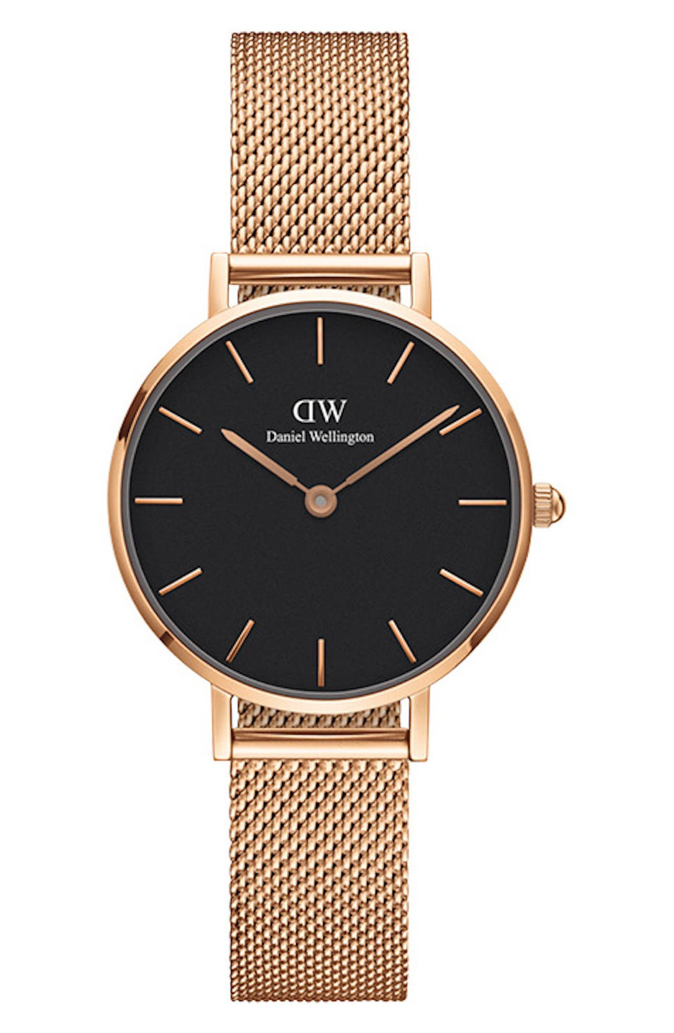 DANIEL WELLINGTON, Classic Petite Mesh Strap Watch, 28mm, Main thumbnail 1, color, ROSE GOLD/ BLACK / ROSE GOLD