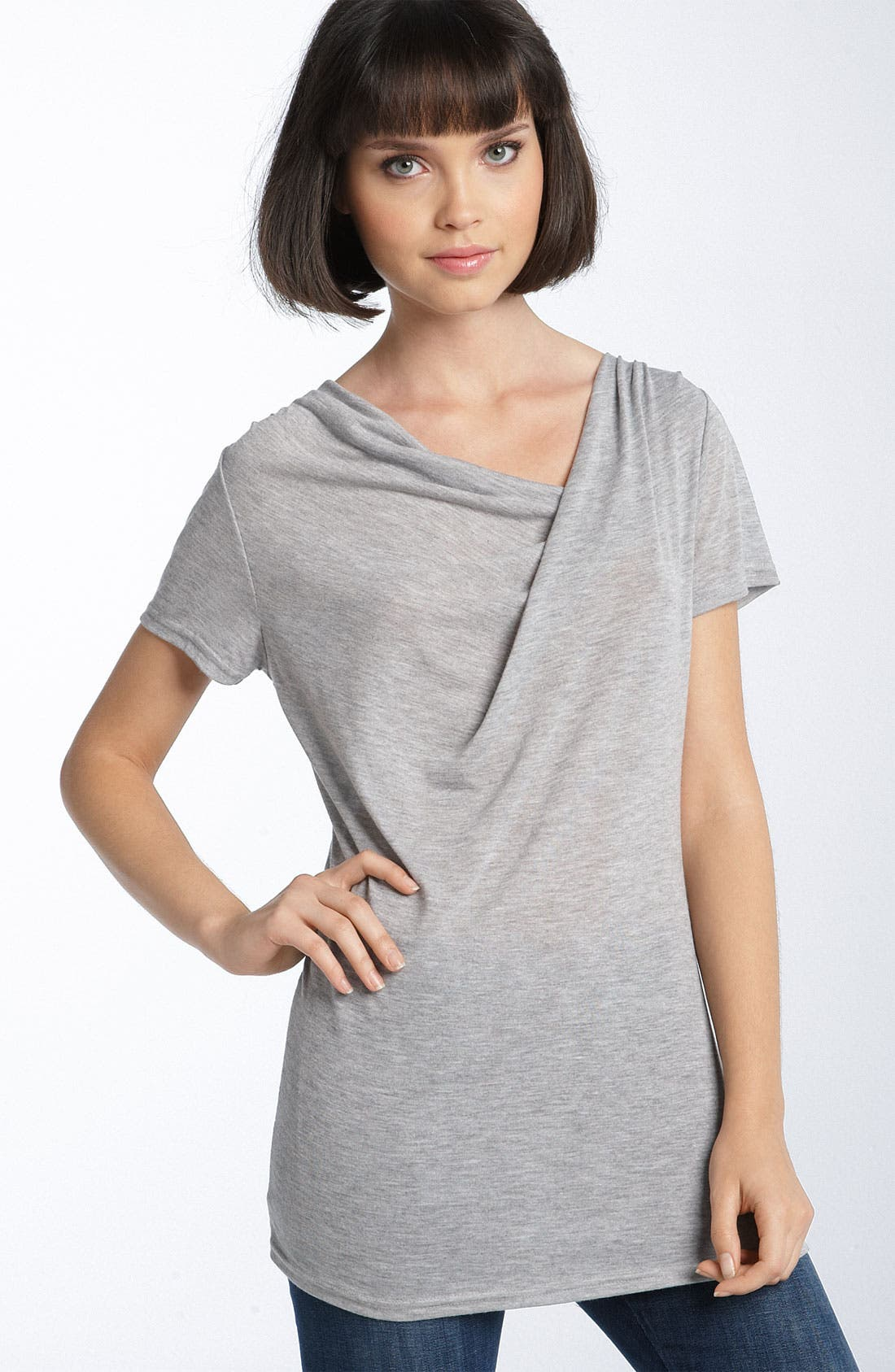 TROUVÉ Drape Neck Tee, Main, color, 020