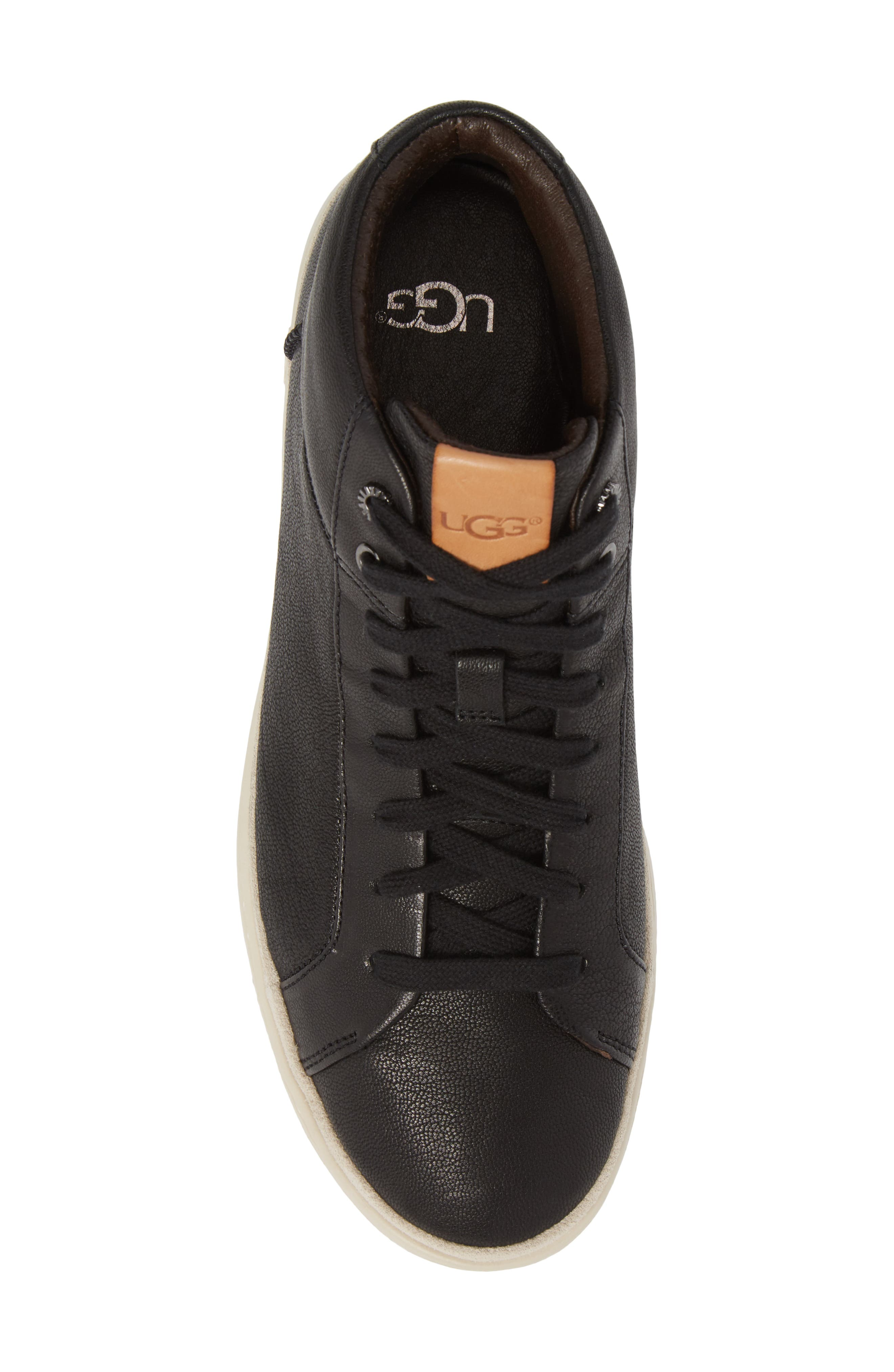 UGG<SUP>®</SUP>, Cali High Top Sneaker, Alternate thumbnail 5, color, BLACK LEATHER