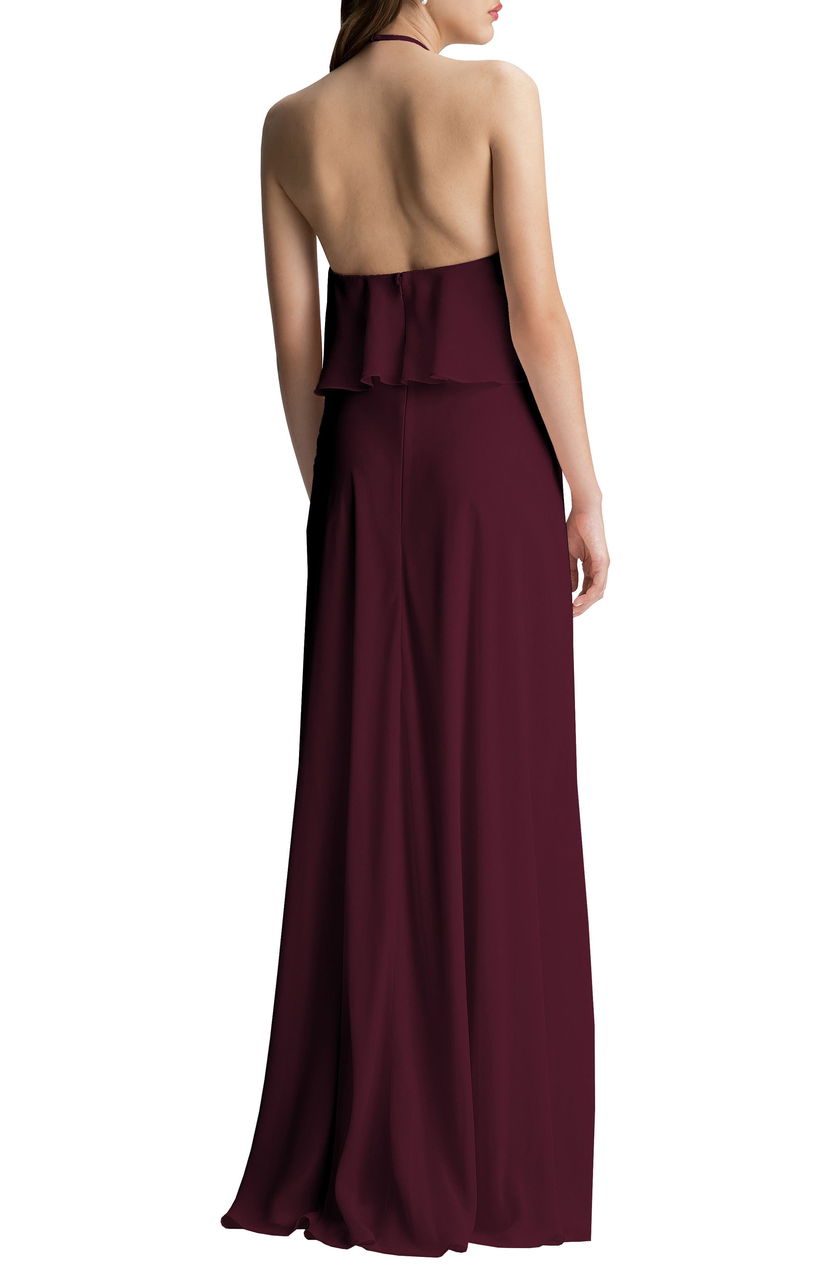 #LEVKOFF, Halter Overlay Chiffon Gown, Alternate thumbnail 2, color, WINE