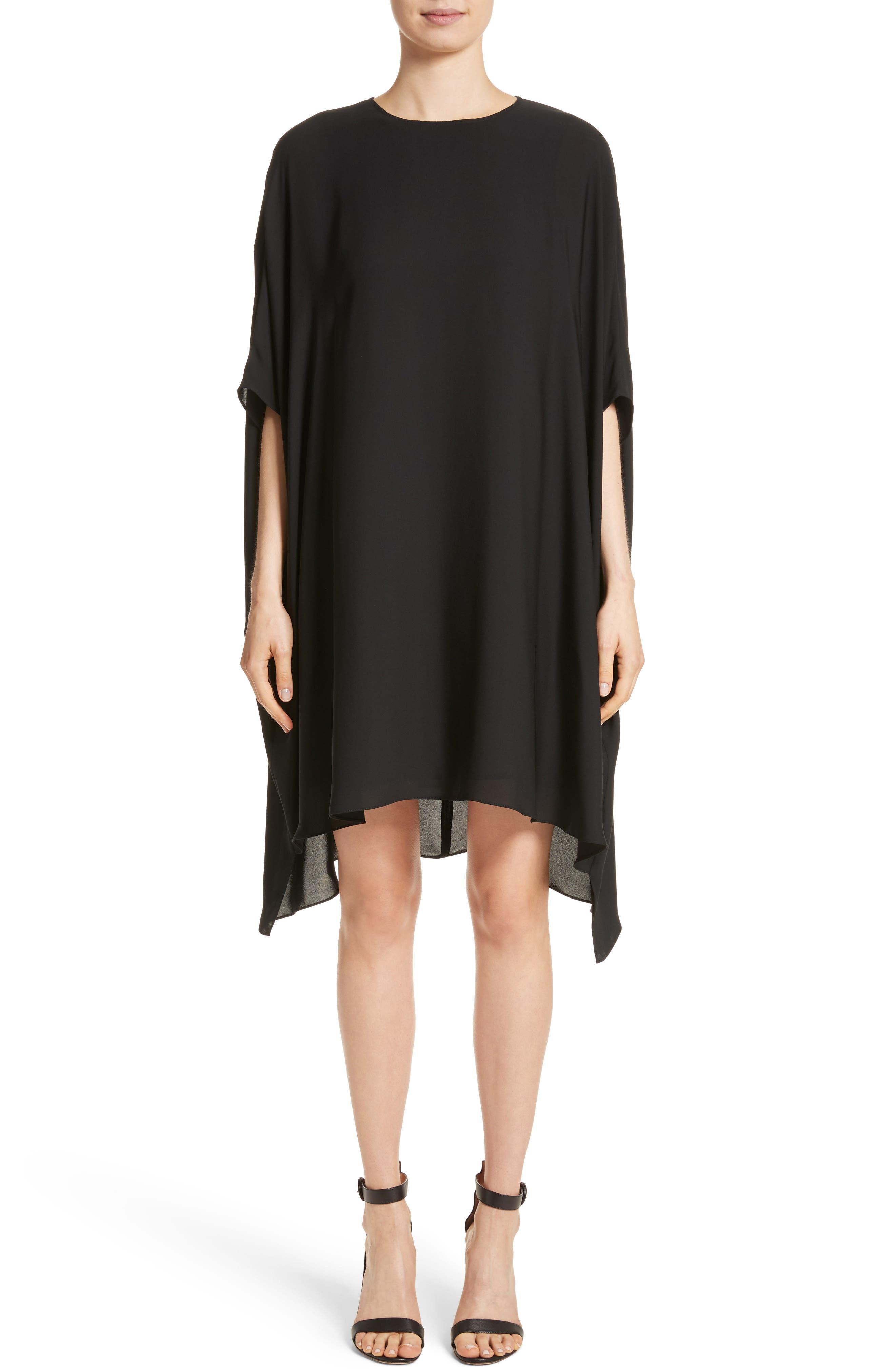 ST. JOHN COLLECTION, Double Silk Georgette Draped Dress, Main thumbnail 1, color, CAVIAR