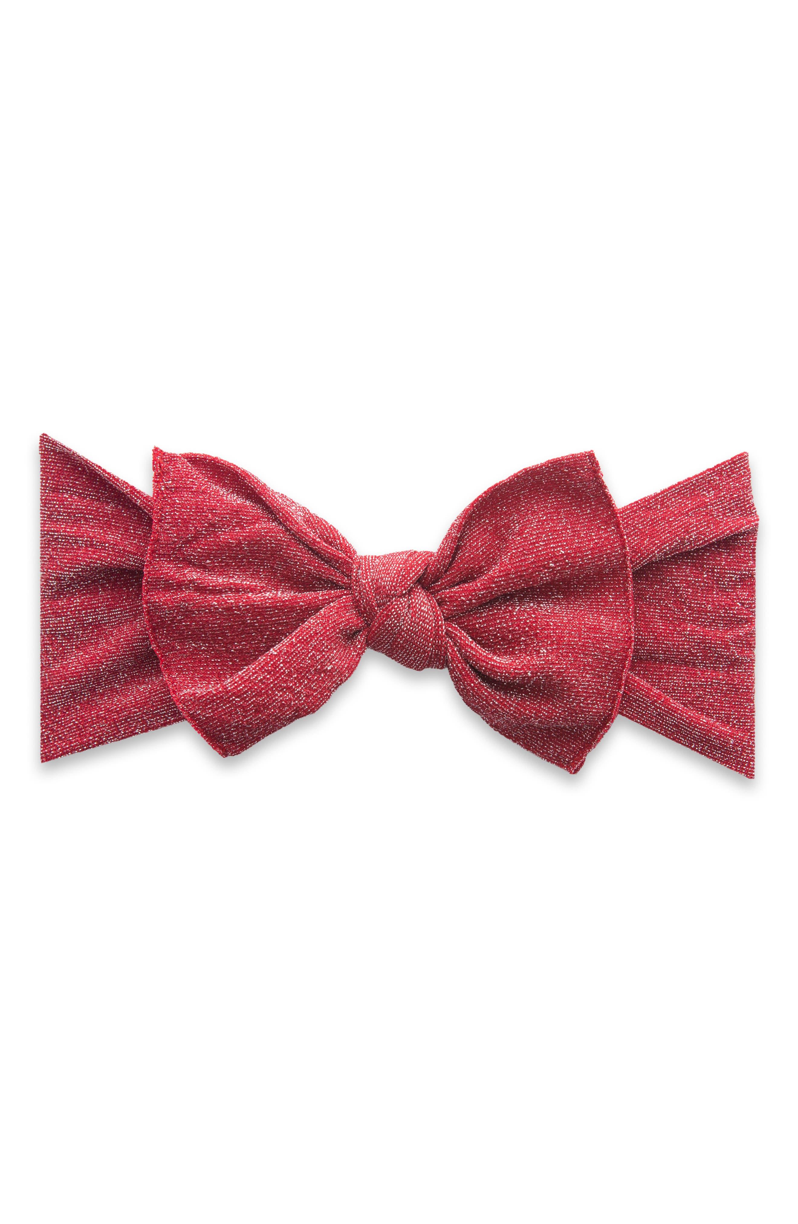 BABY BLING, Shimmer Knot Headband, Main thumbnail 1, color, RED
