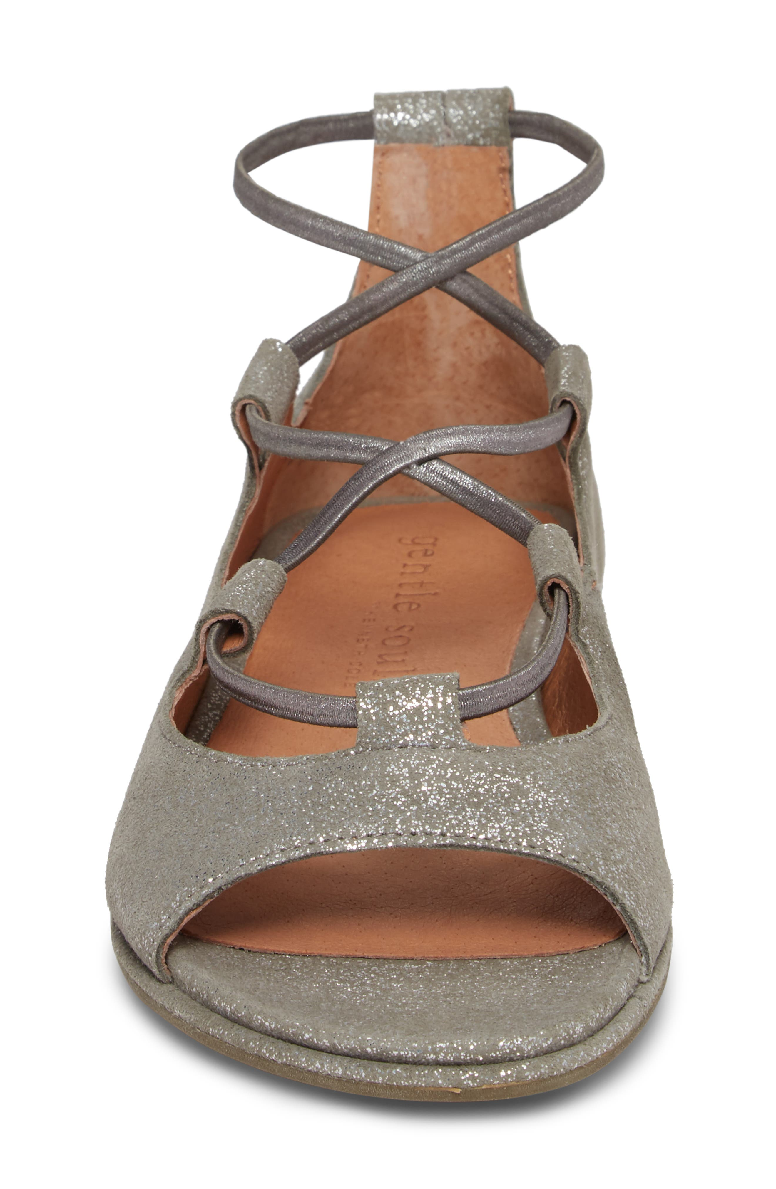 GENTLE SOULS BY KENNETH COLE, Lark Sandal, Alternate thumbnail 4, color, LIGHT PEWTER METALLIC LEATHER