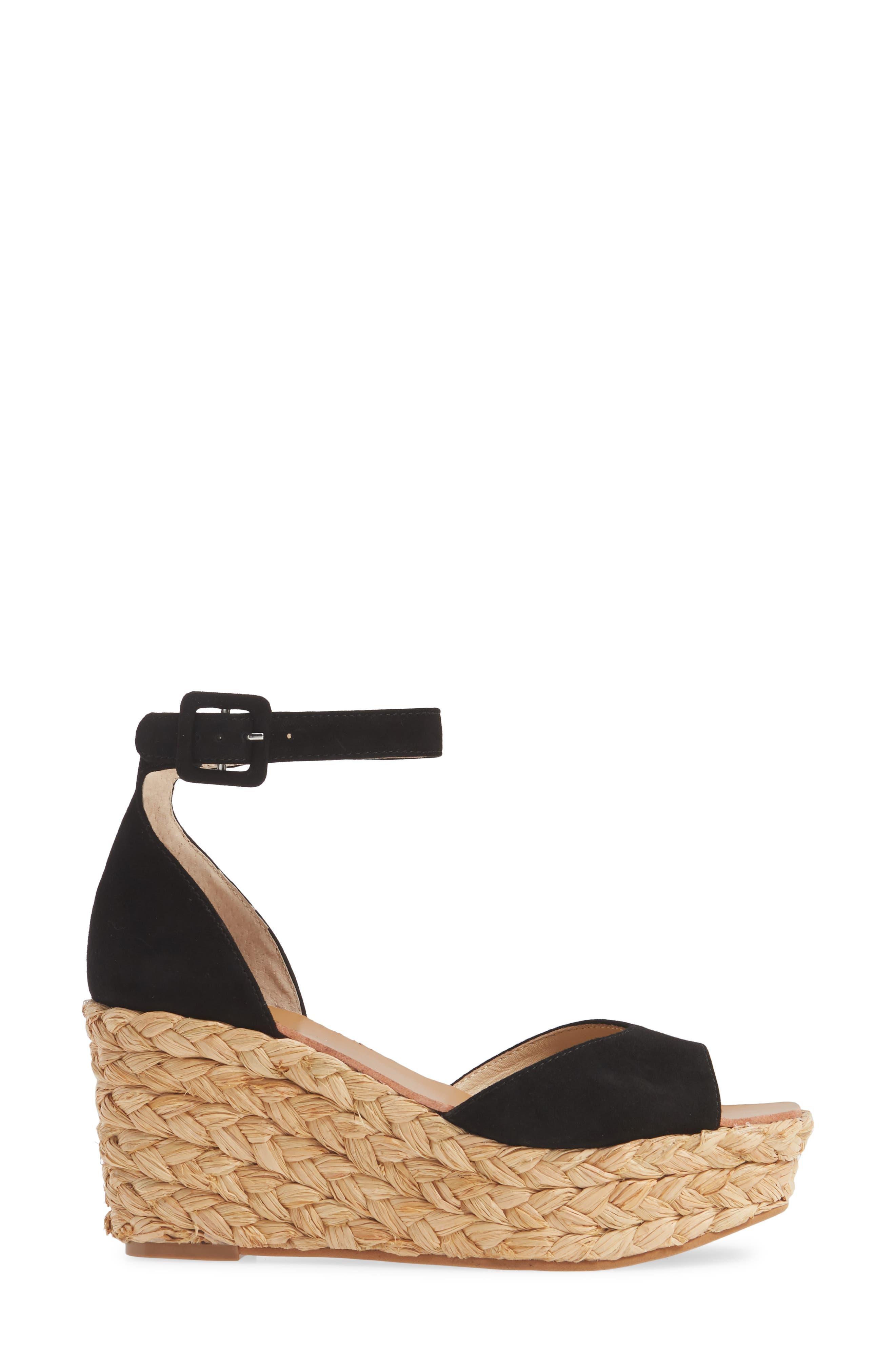 42 GOLD, Mindie Platform Wedge Sandal, Alternate thumbnail 3, color, BLACK SUEDE