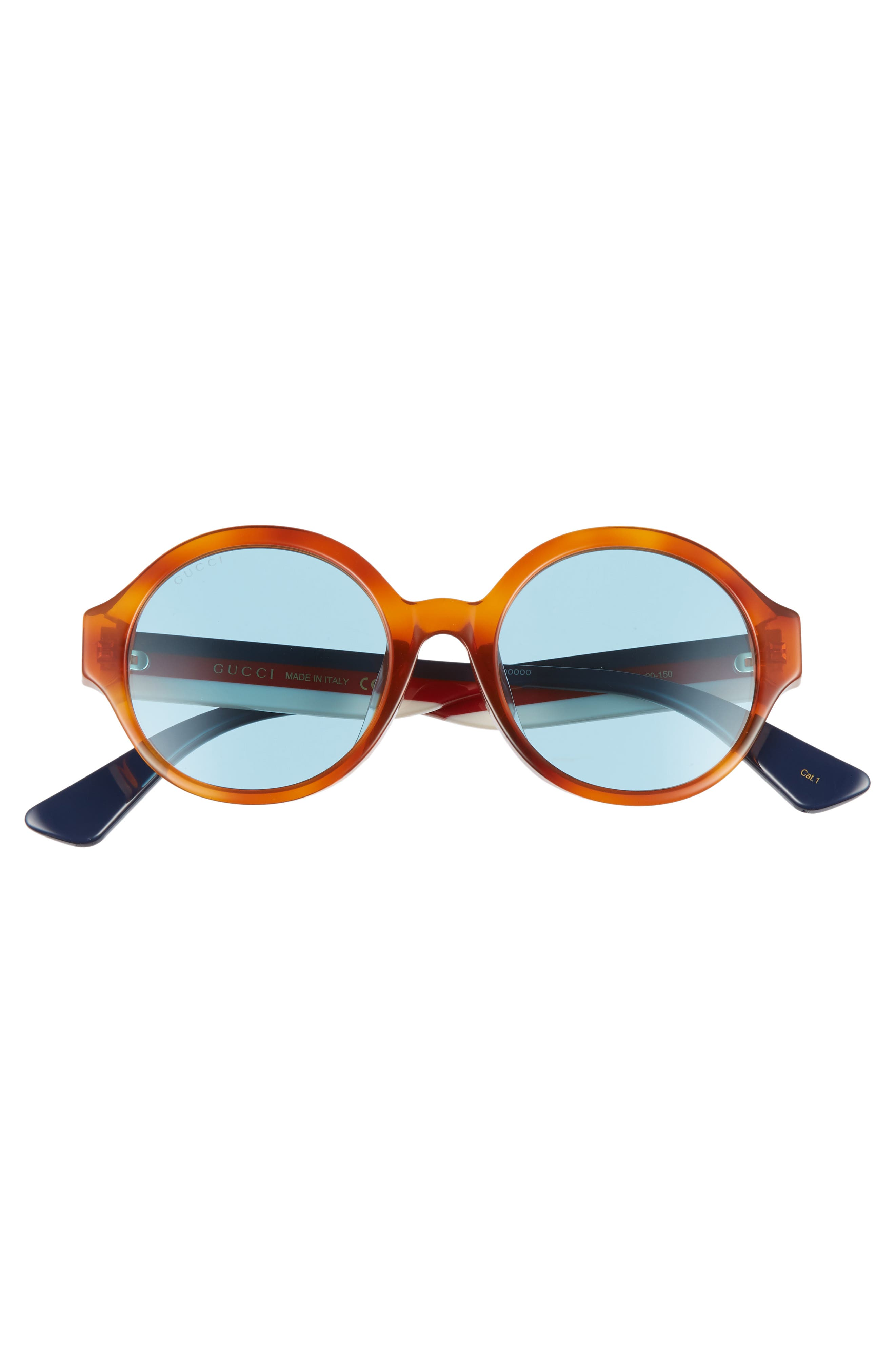 GUCCI, 51mm Round Sunglasses, Alternate thumbnail 3, color, HAVANA
