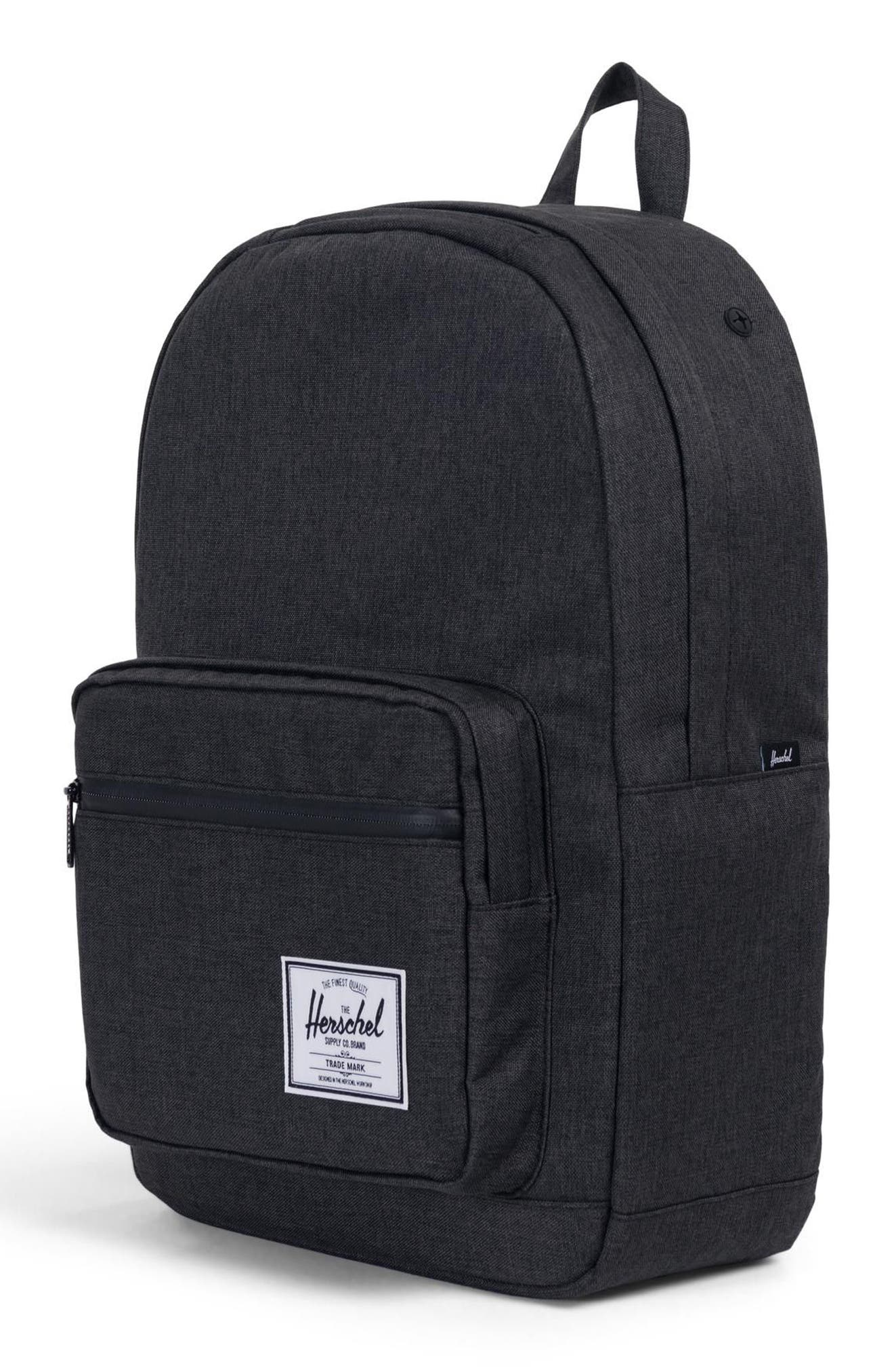 HERSCHEL SUPPLY CO., Pop Quiz Backpack, Alternate thumbnail 6, color, BLACK CROSSHATCH/ BLACK RUBBER