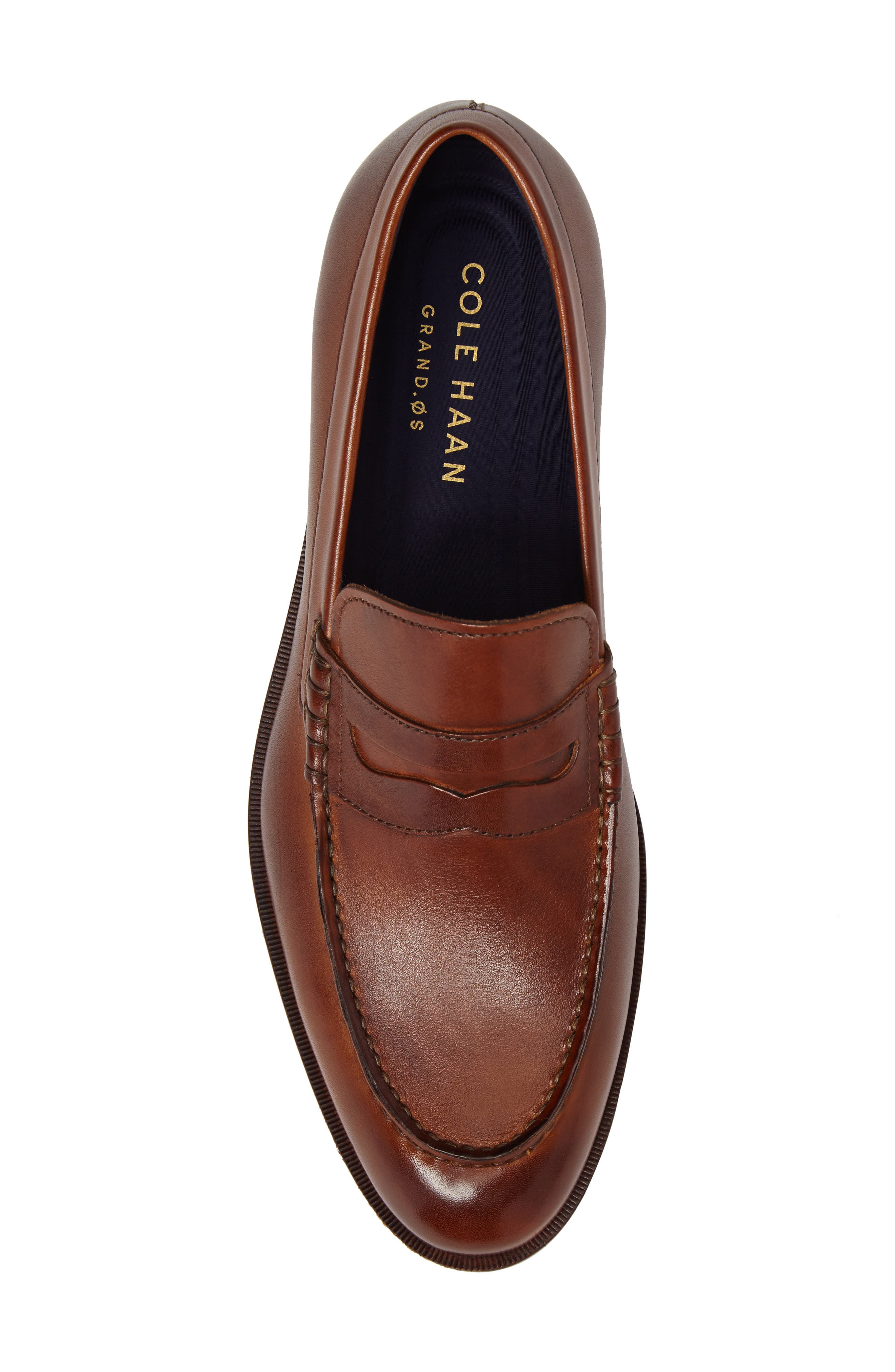 COLE HAAN, Harrison Grand Penny Loafer, Alternate thumbnail 5, color, COGNAC/ DARK NATURAL LEATHER
