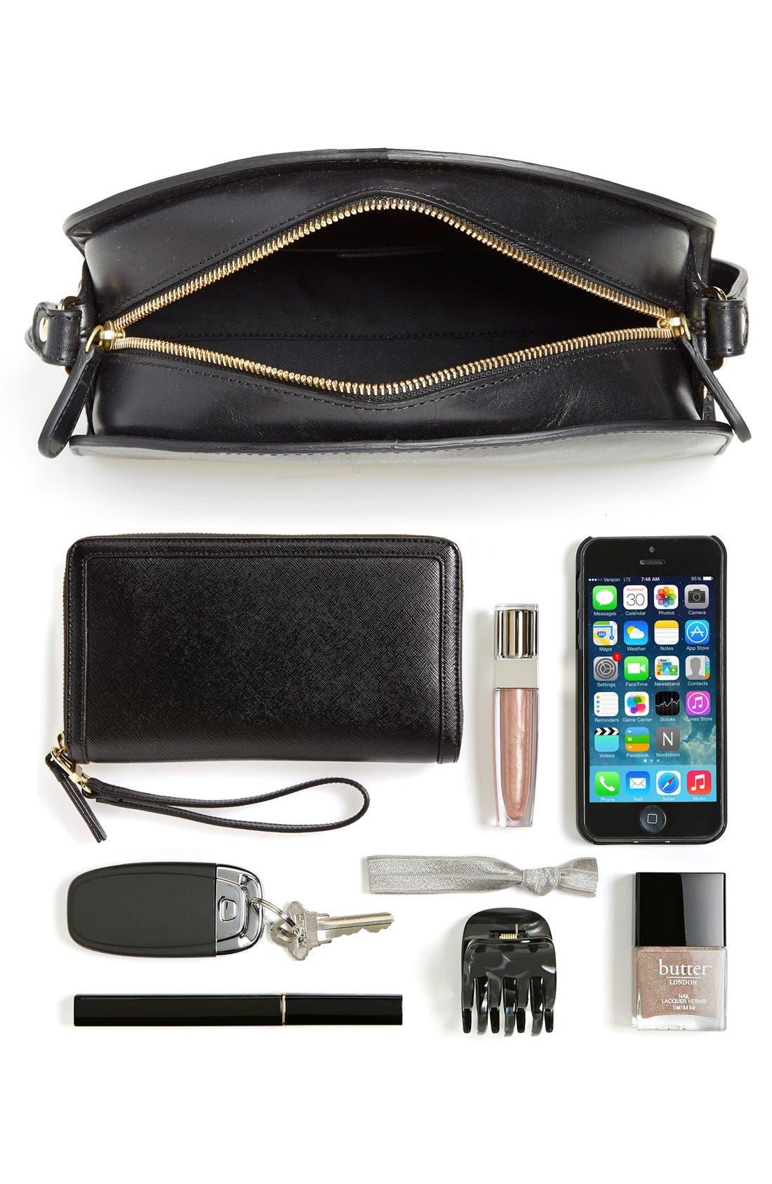 A.P.C., 'Sac Demi Lune' Leather Crossbody Bag, Alternate thumbnail 8, color, NOISETTE