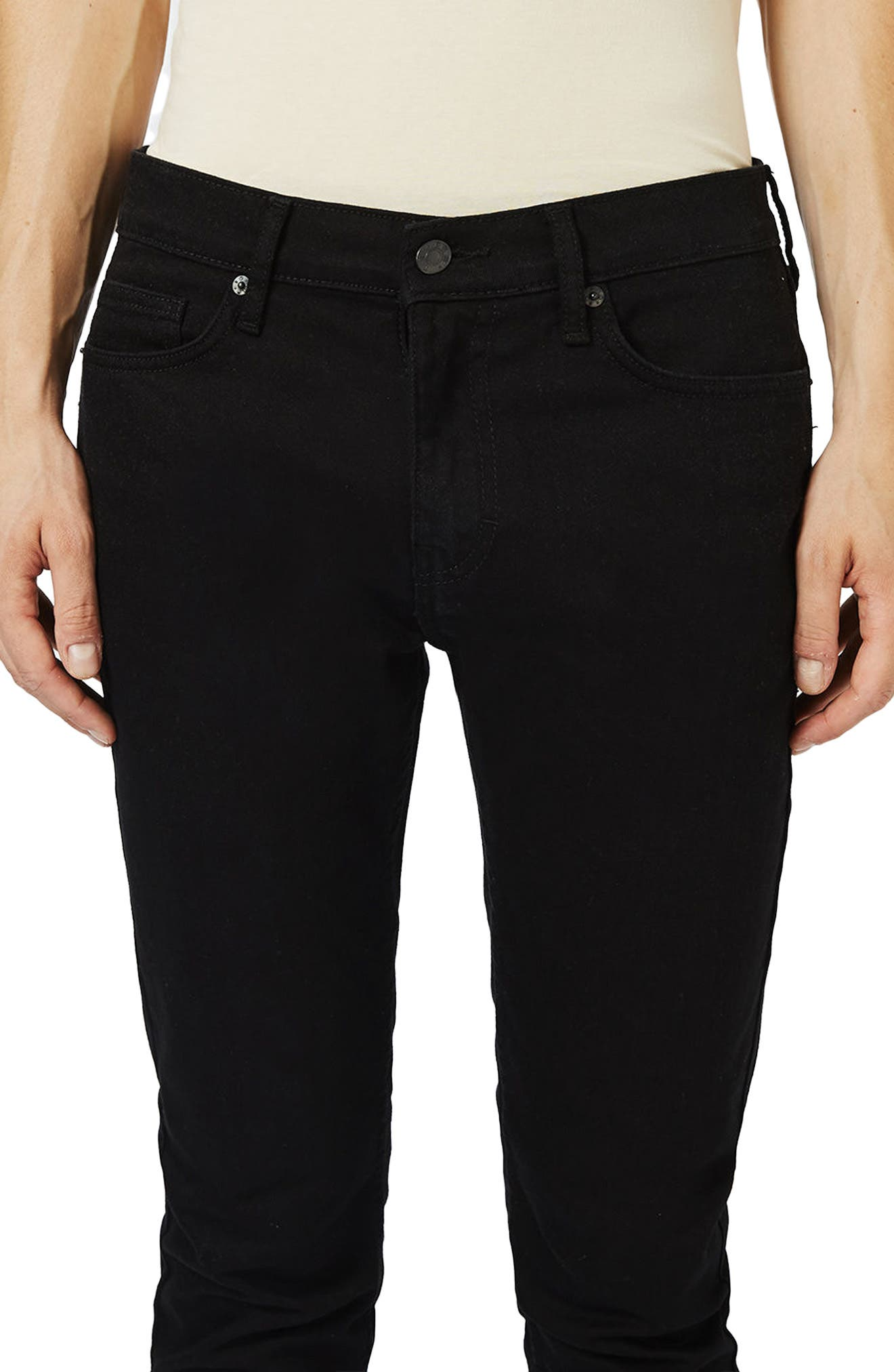 TOPMAN, Skinny Stretch Jeans, Alternate thumbnail 4, color, BLACK