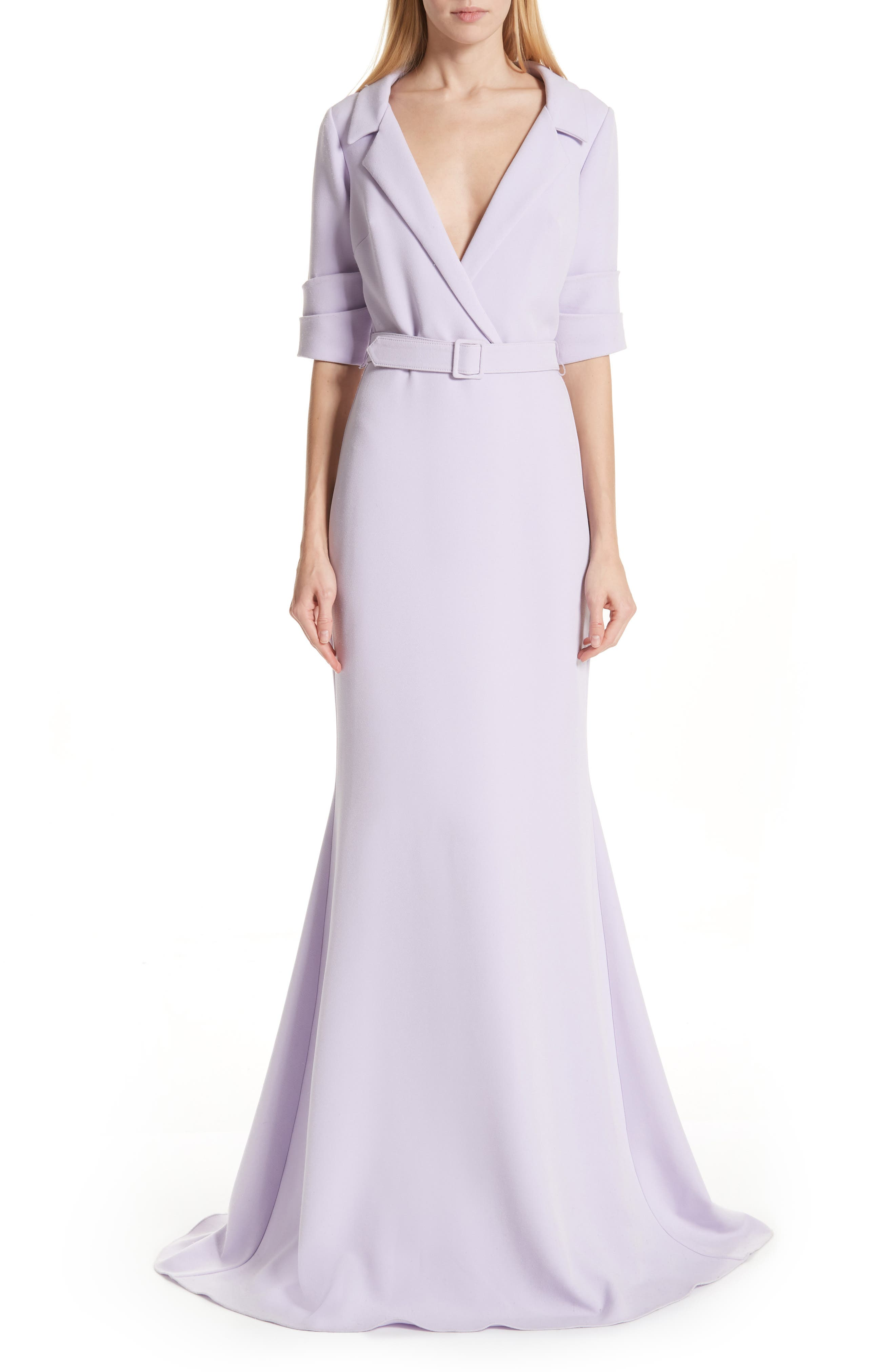 Badgley Mischka Collection Collared Evening Dress, Purple