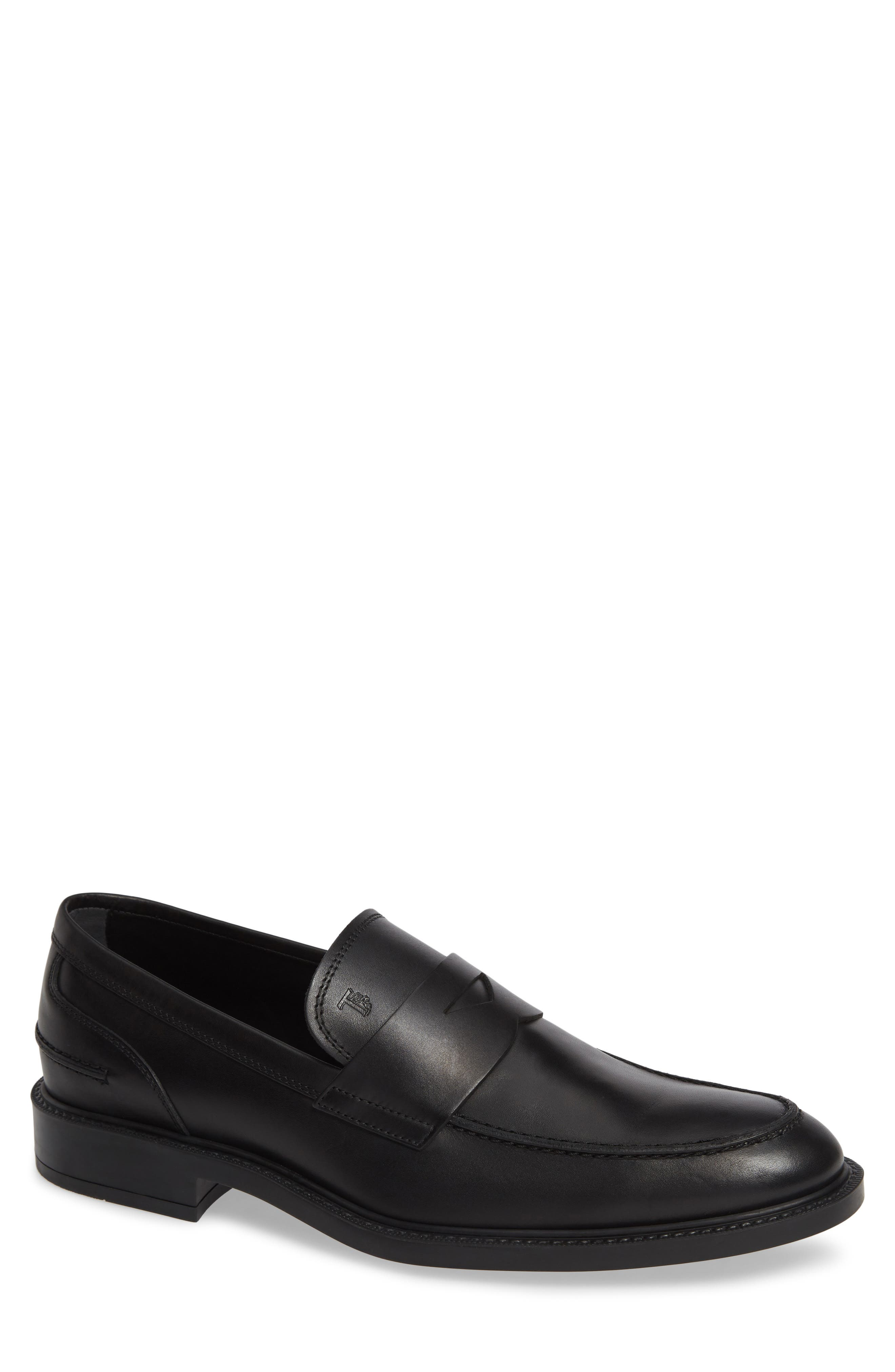 TOD'S, Mocassino Water Repellent Penny Loafer, Main thumbnail 1, color, BLACK/ BLACK