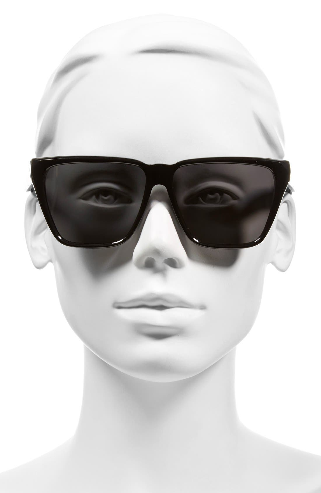 GIVENCHY, 58mm Flat Top Sunglasses, Alternate thumbnail 2, color, BLACK/ GREY