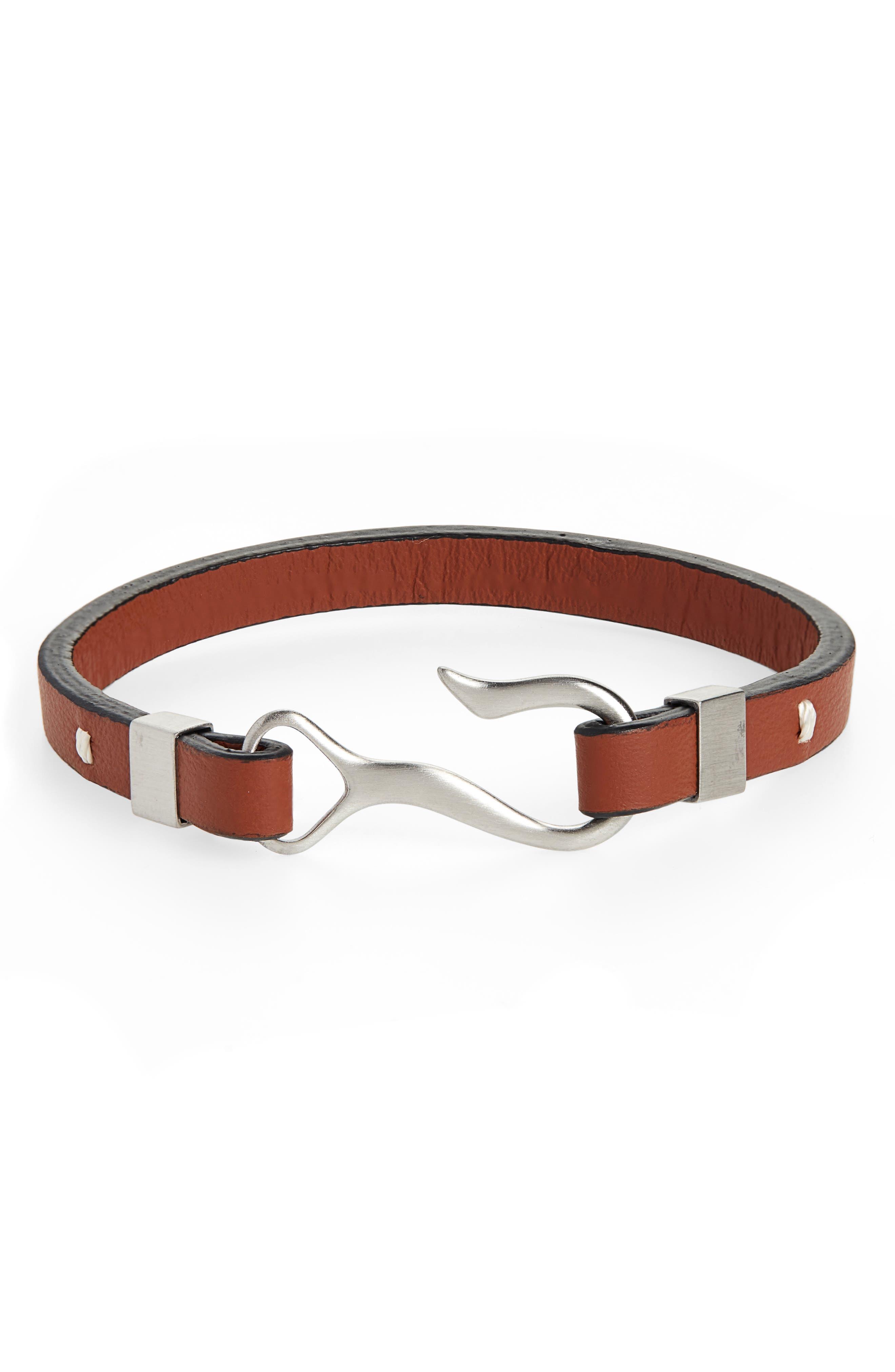 NORDSTROM MEN'S SHOP, Leather Hook Bracelet, Main thumbnail 1, color, BROWN