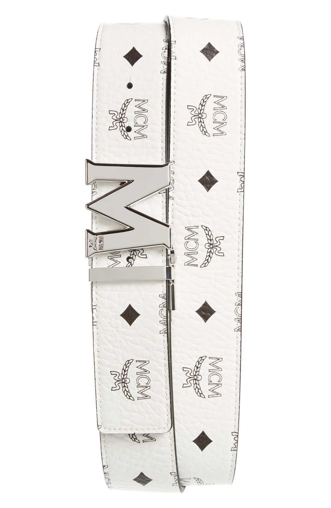 MCM Cobalt Leather Belt, Main, color, WHITE/ COGNAC