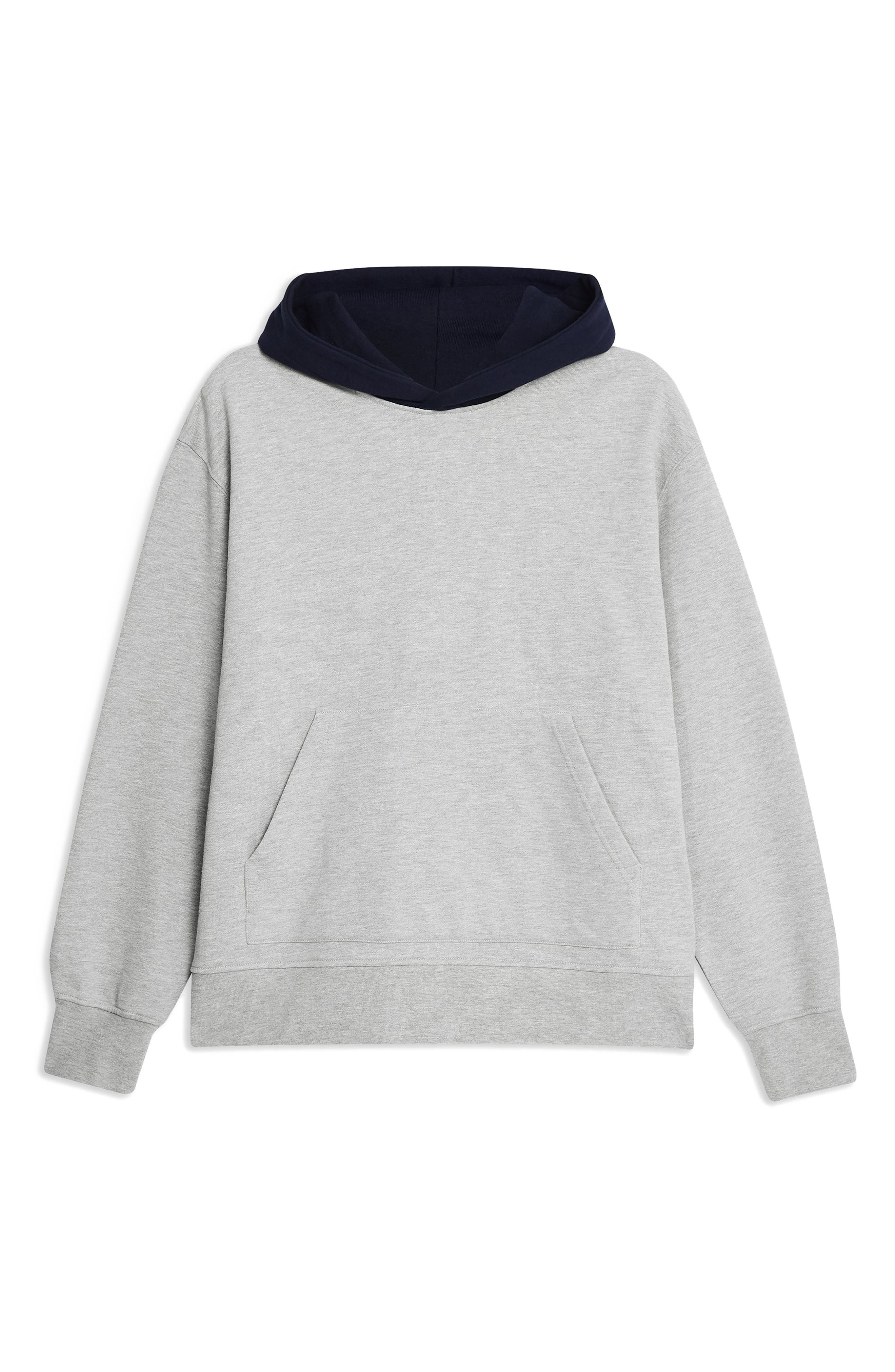 TOPMAN, Classic Contrast Hooded Sweatshirt, Alternate thumbnail 3, color, GREY