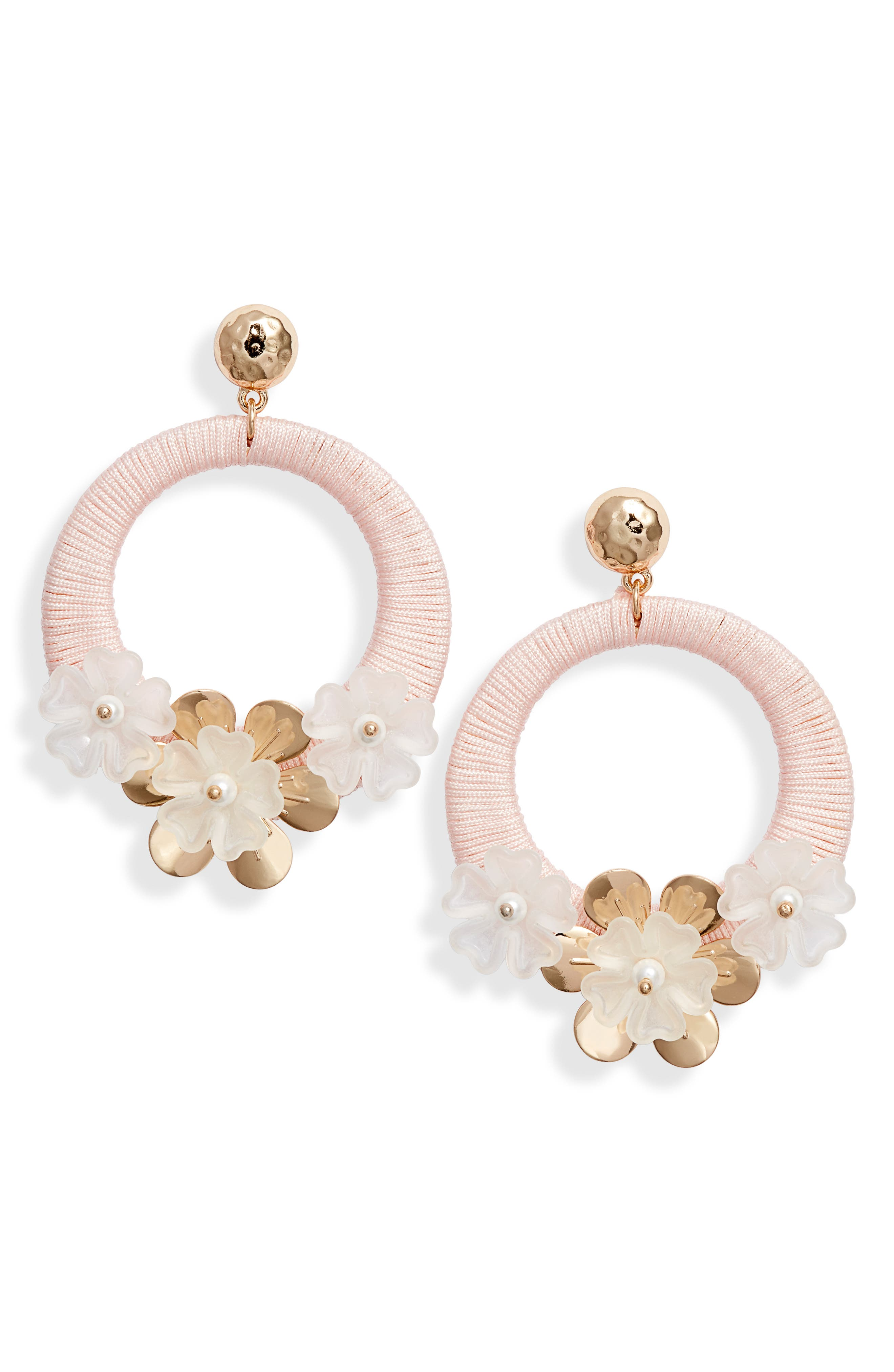 RACHEL PARCELL, Flower Hoop Drop Earrings, Main thumbnail 1, color, PINK PEARL- GOLD