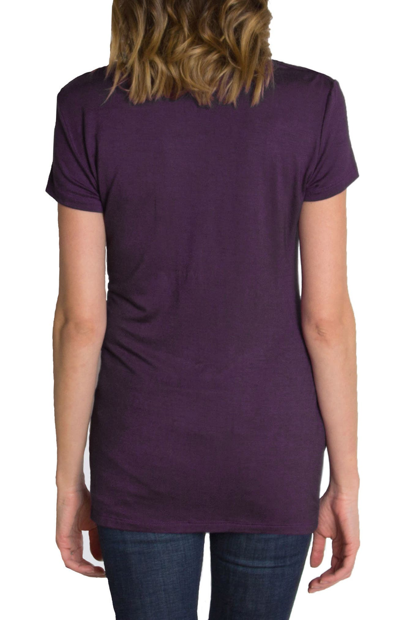 UDDERLY HOT MAMA, 'Chic' Cowl Neck Nursing Tee, Alternate thumbnail 3, color, PURPLE