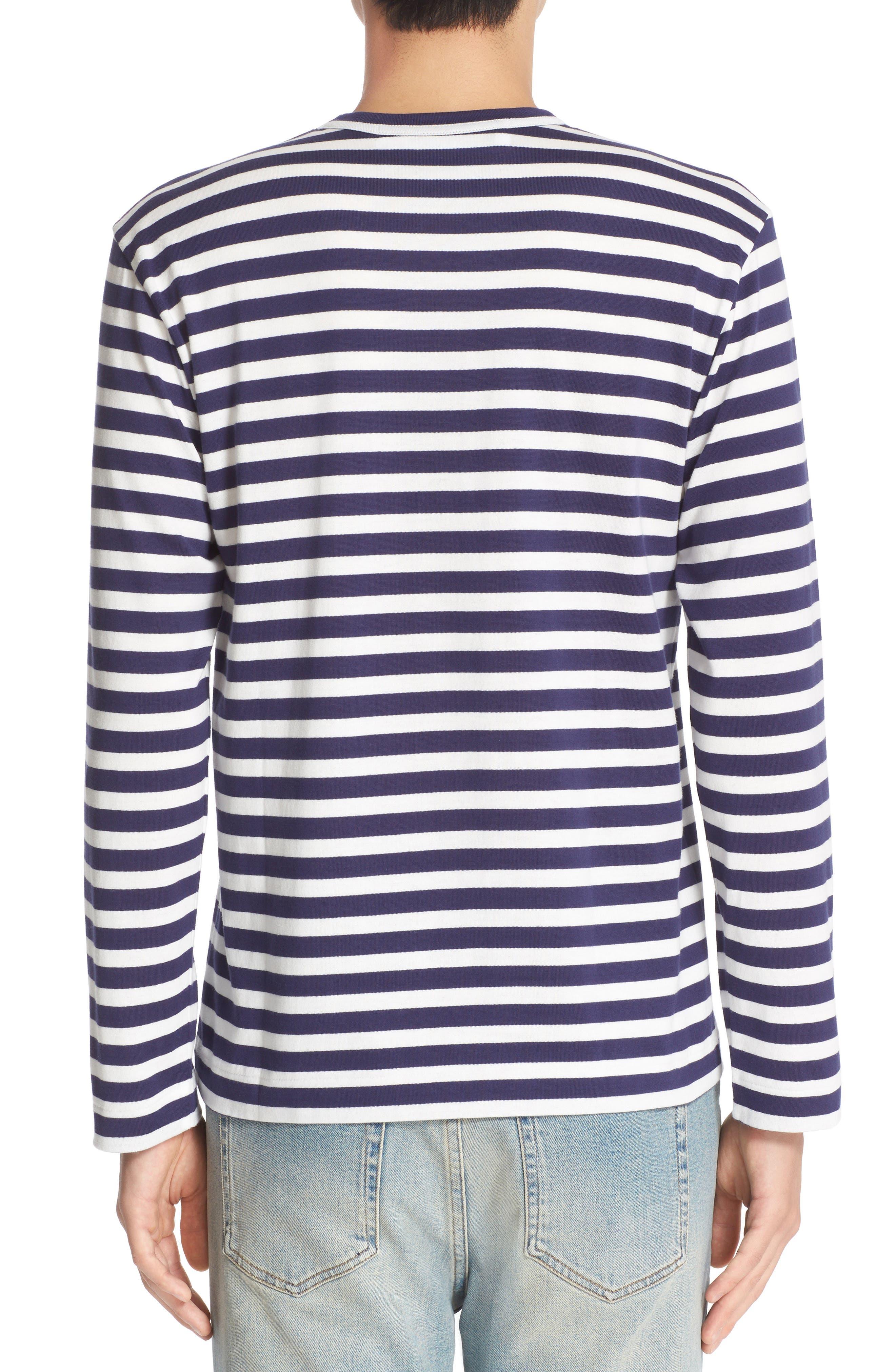 COMME DES GARÇONS PLAY, Twin Appliqué Stripe T-Shirt, Alternate thumbnail 2, color, NAVY/ WHITE