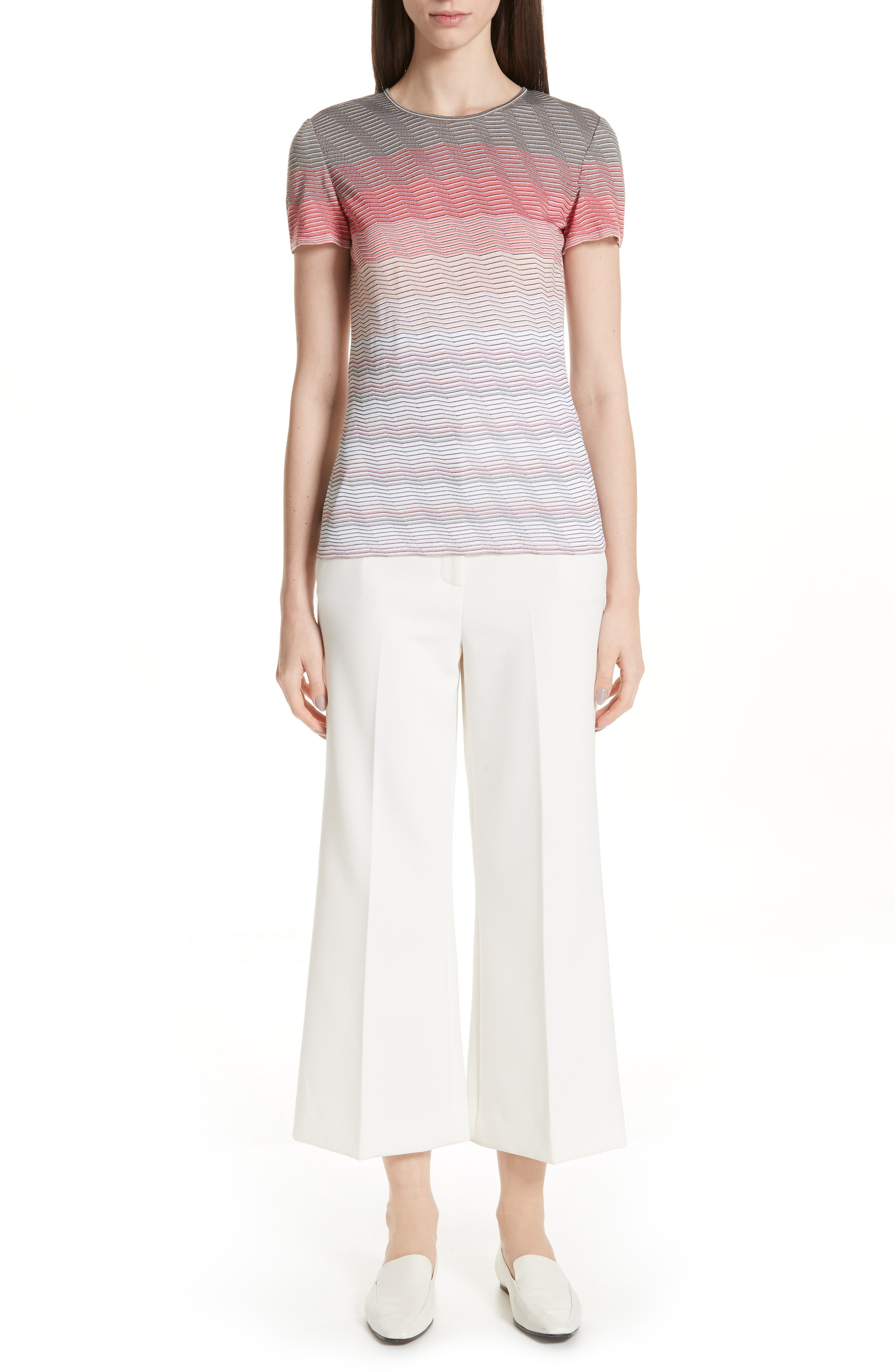 ST. JOHN COLLECTION, Bella Double Weave Crop Flare Pants, Alternate thumbnail 7, color, CREAM