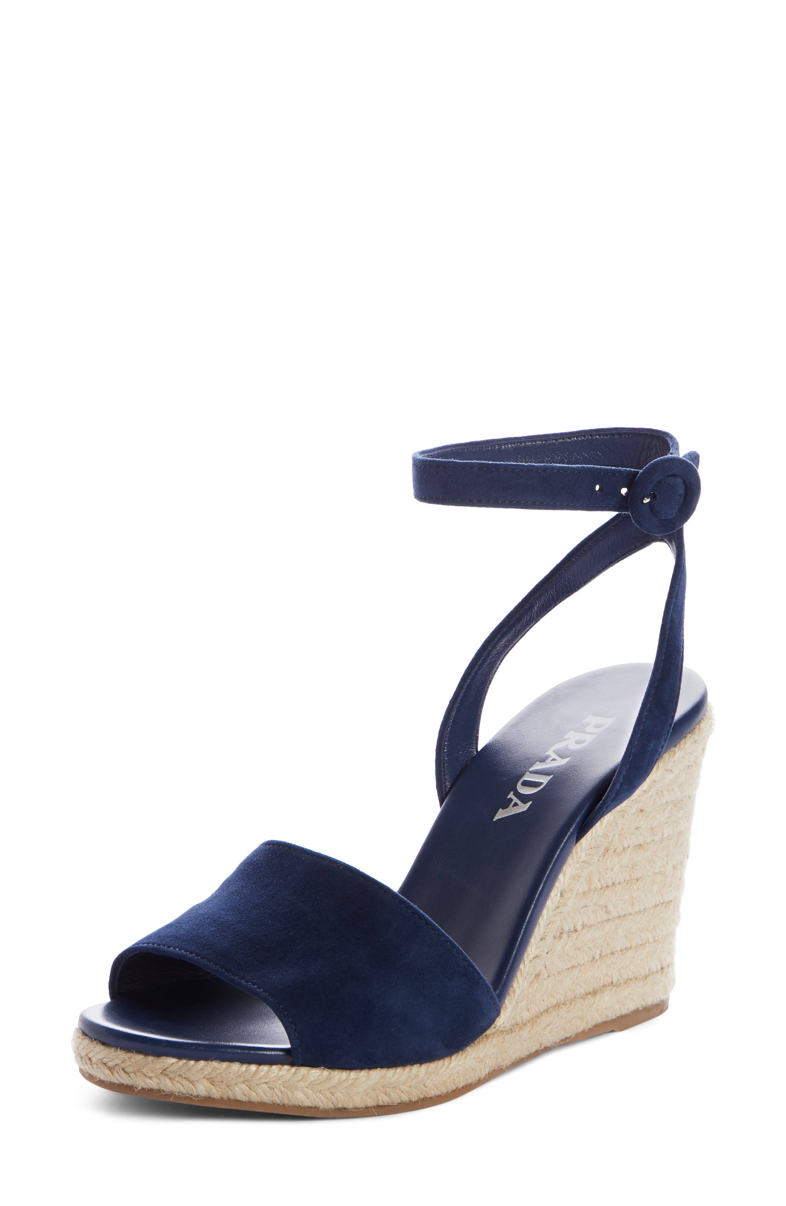 PRADA, Espadrille Wedge, Main thumbnail 1, color, OLTREMARE SUEDE