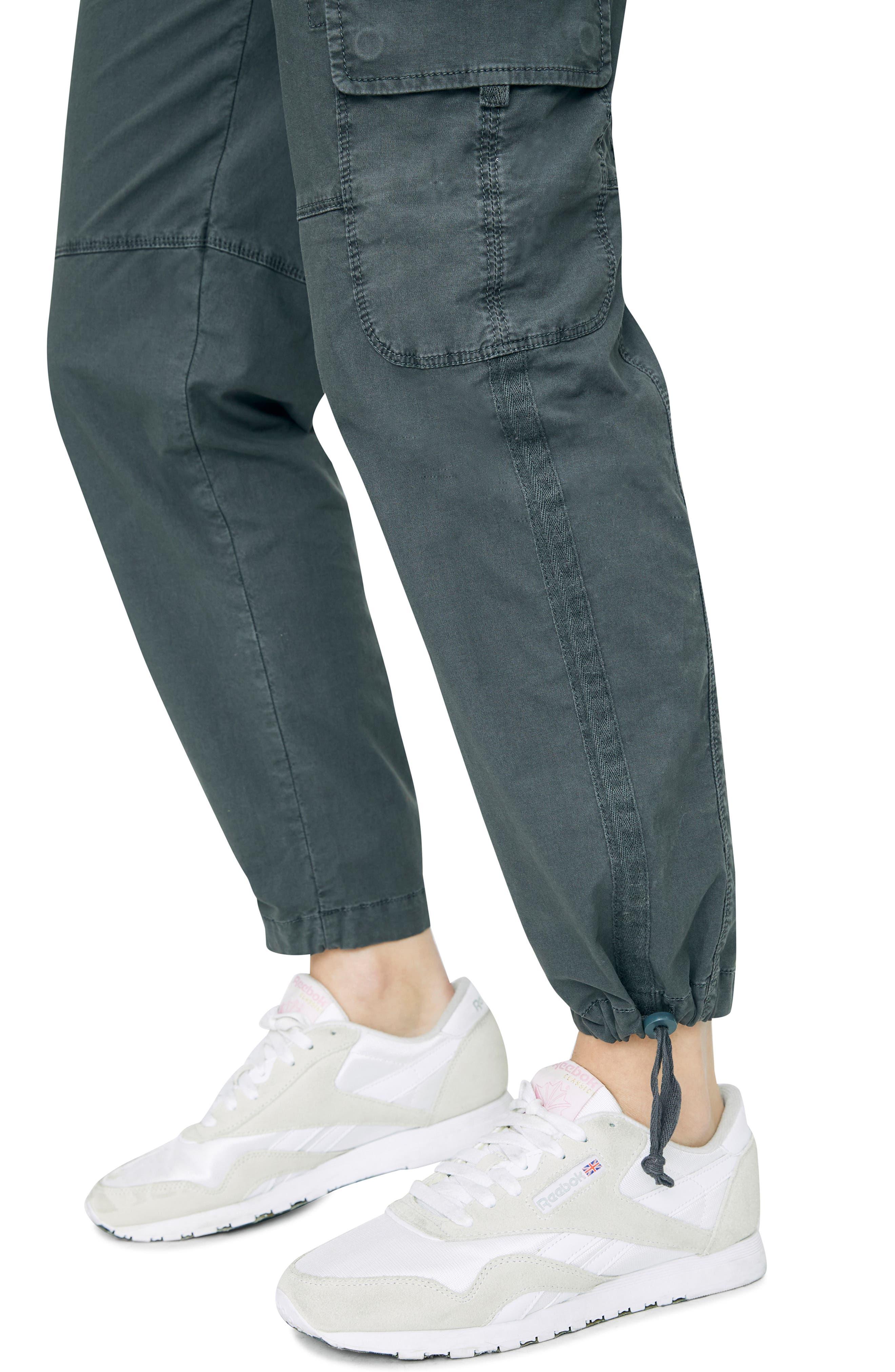 SANCTUARY, Terrain Crop Cargo Pants, Alternate thumbnail 6, color, WASHED FADED BLACK