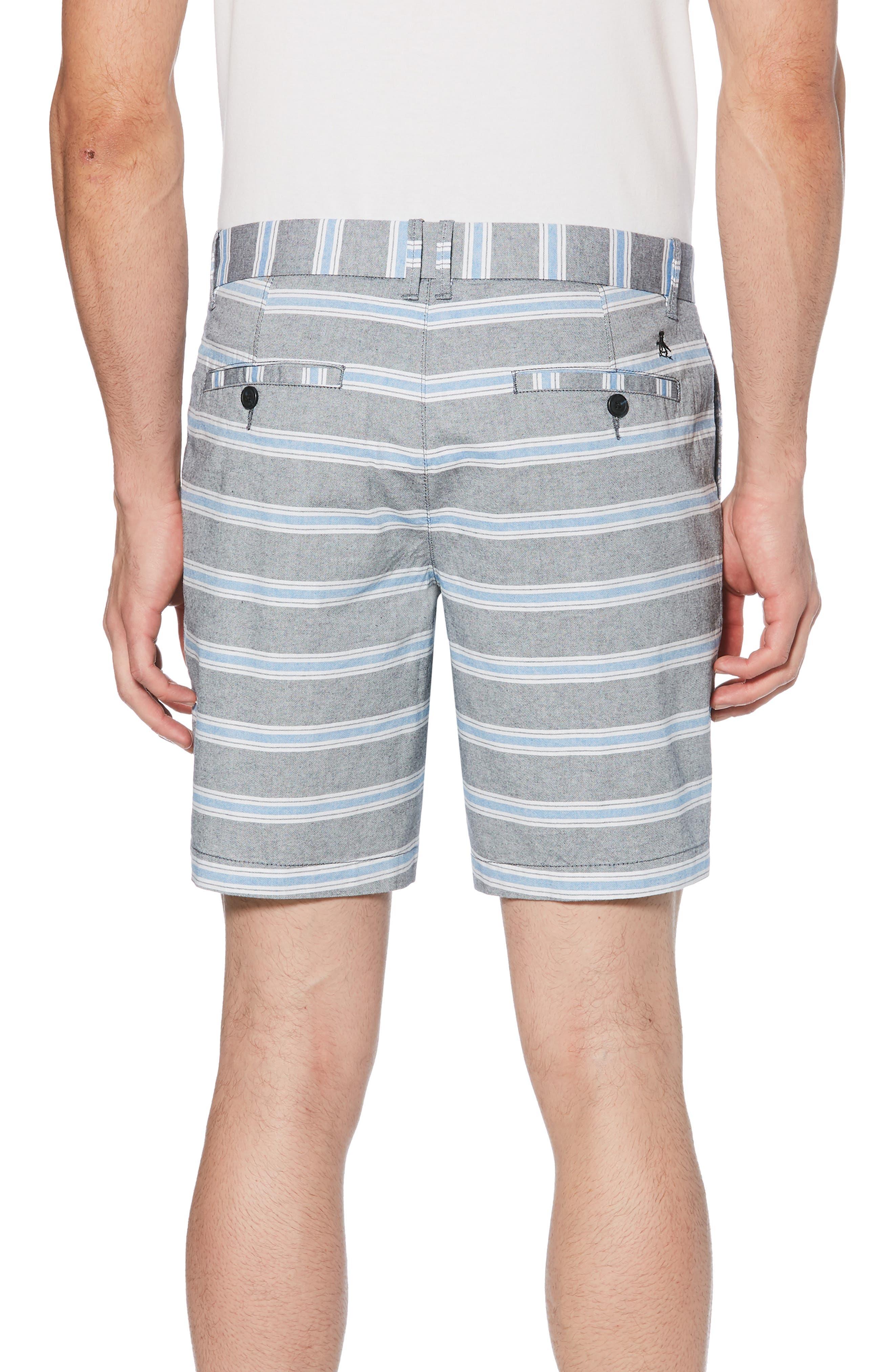 ORIGINAL PENGUIN, End on End Stripe Shorts, Alternate thumbnail 2, color, DARK SAPPHIRE