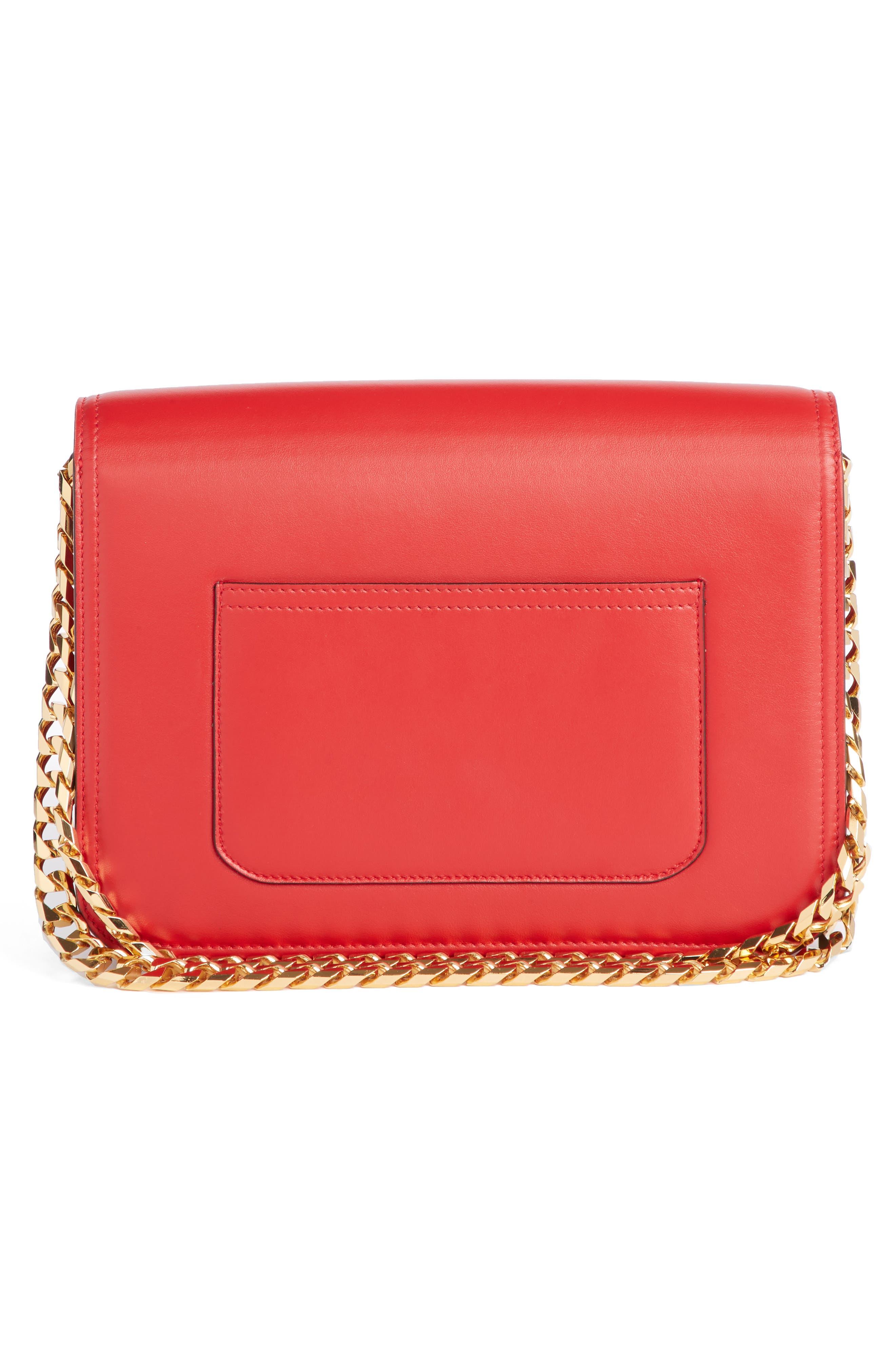 VICTORIA BECKHAM, Eva Leather Shoulder Bag, Alternate thumbnail 3, color, RED