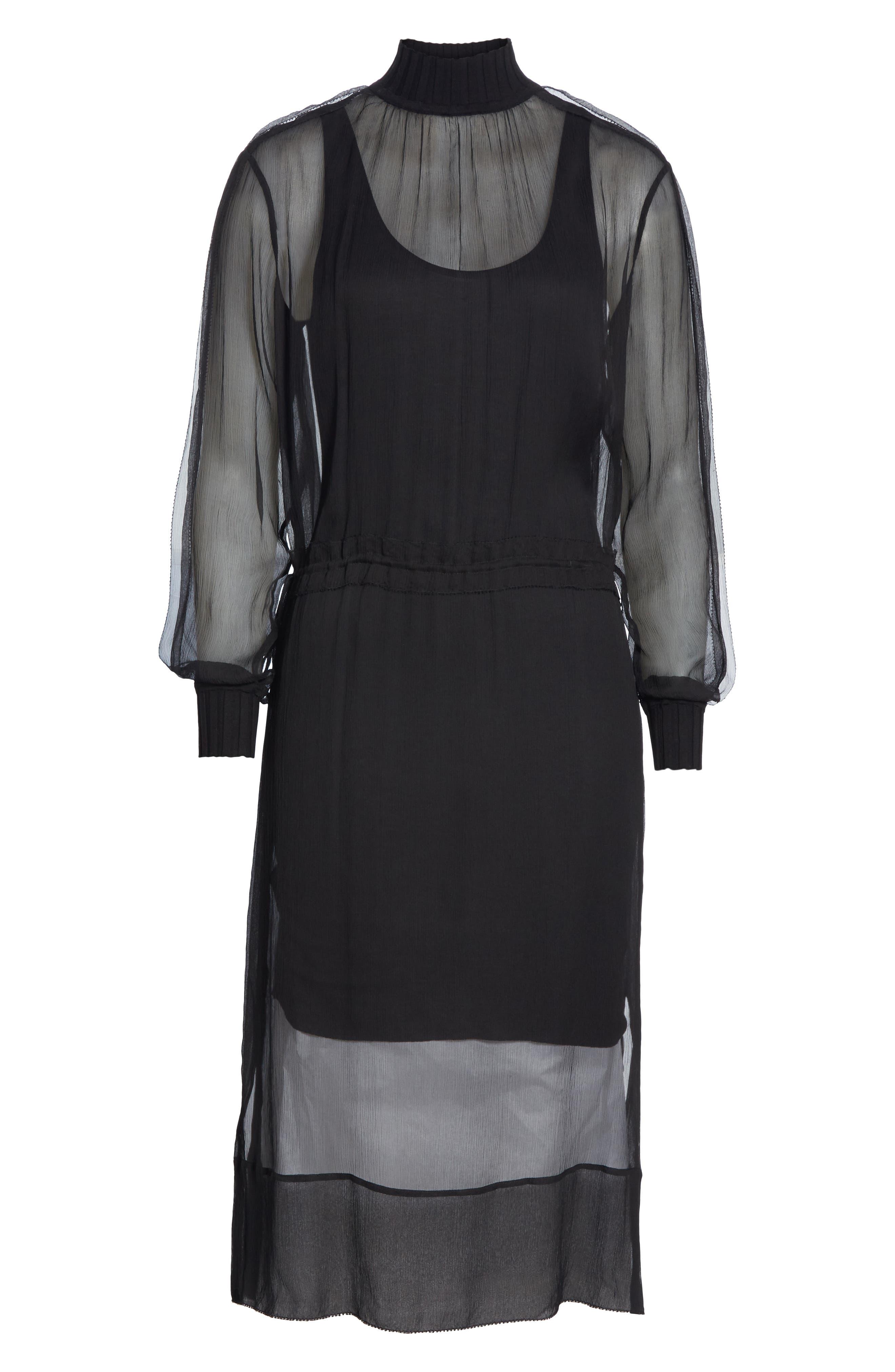 RAG & BONE, Dinah Silk Dress, Alternate thumbnail 7, color, 001
