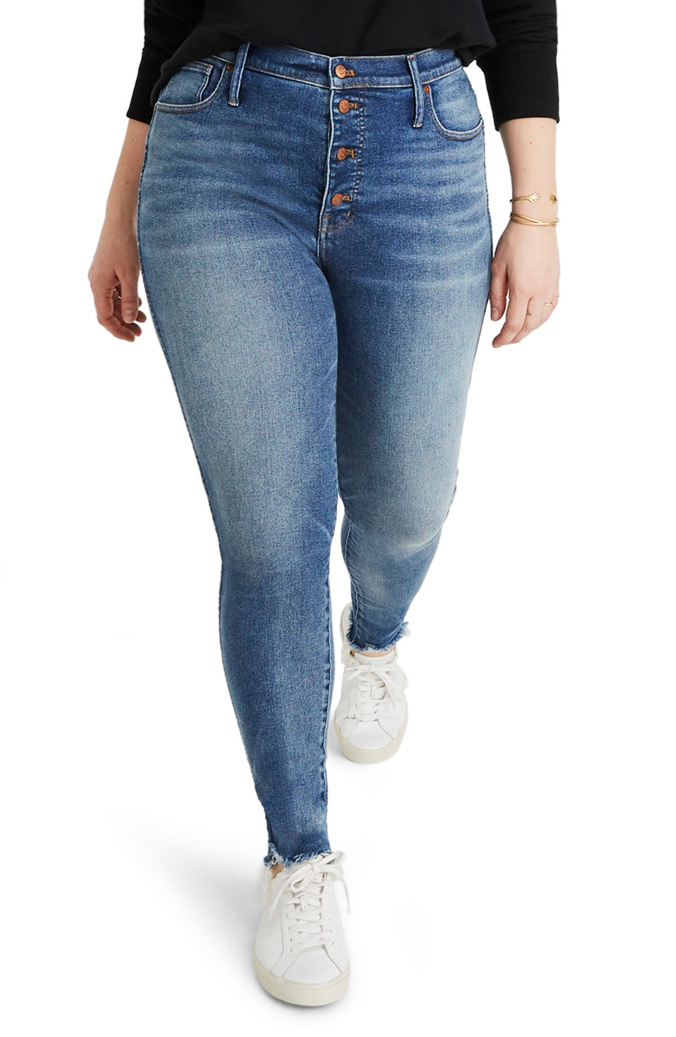 MADEWELL, 10-Inch High Waist Skinny Jeans, Alternate thumbnail 2, color, CORDOVA