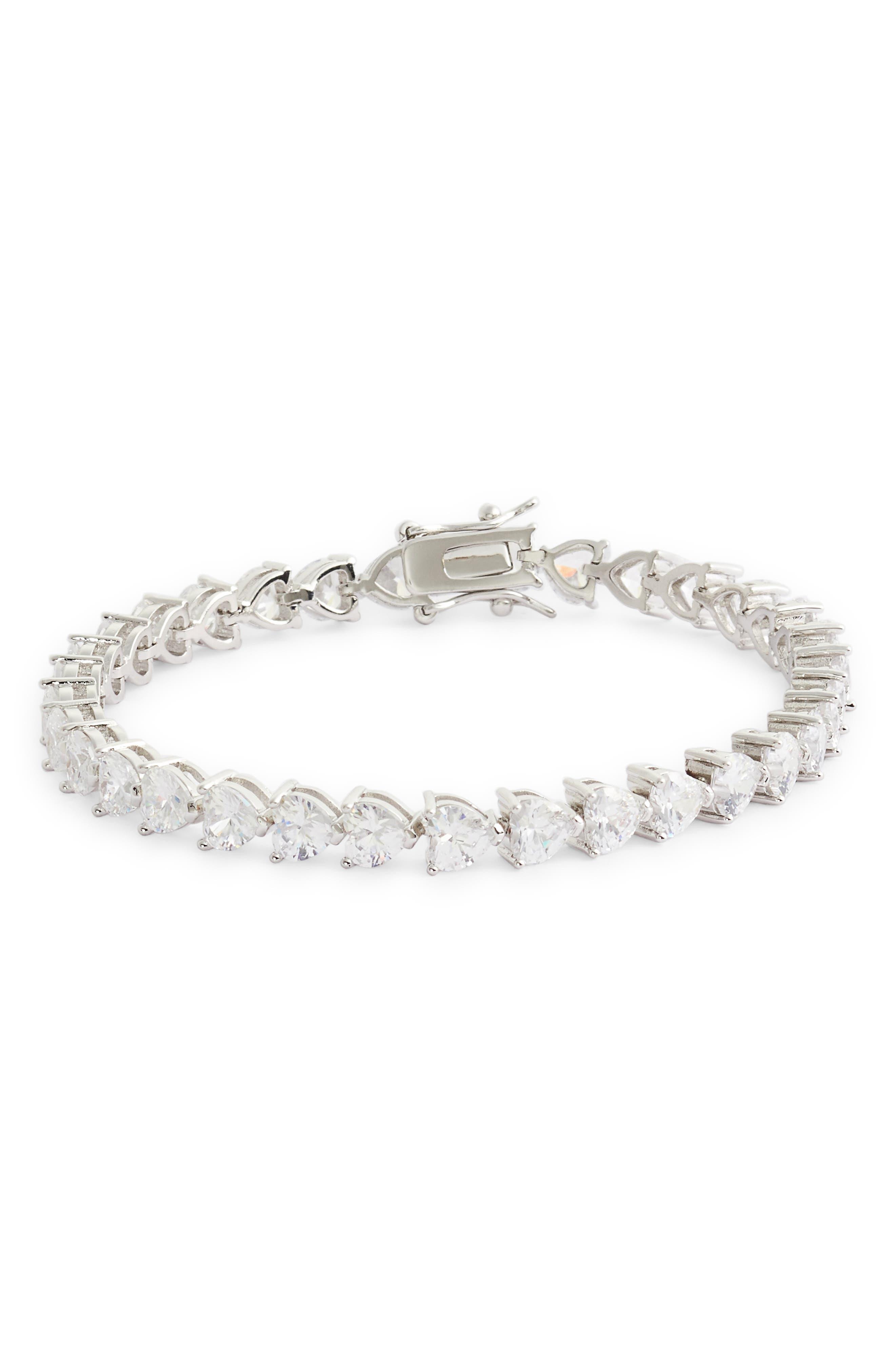 NINA, Heart Shaped Cubic Zirconia Link Bracelet, Main thumbnail 1, color, WHITE/ SILVER
