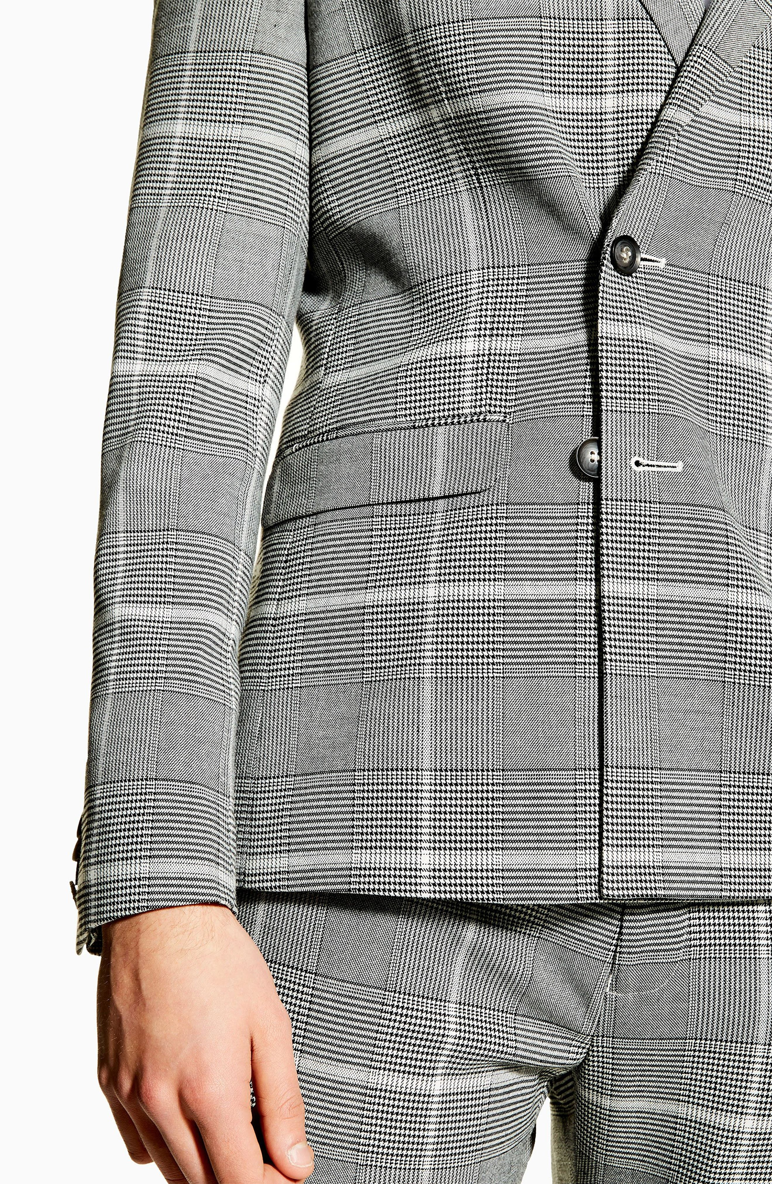 TOPMAN, Skinny Fit Check Suit Jacket, Alternate thumbnail 6, color, 020