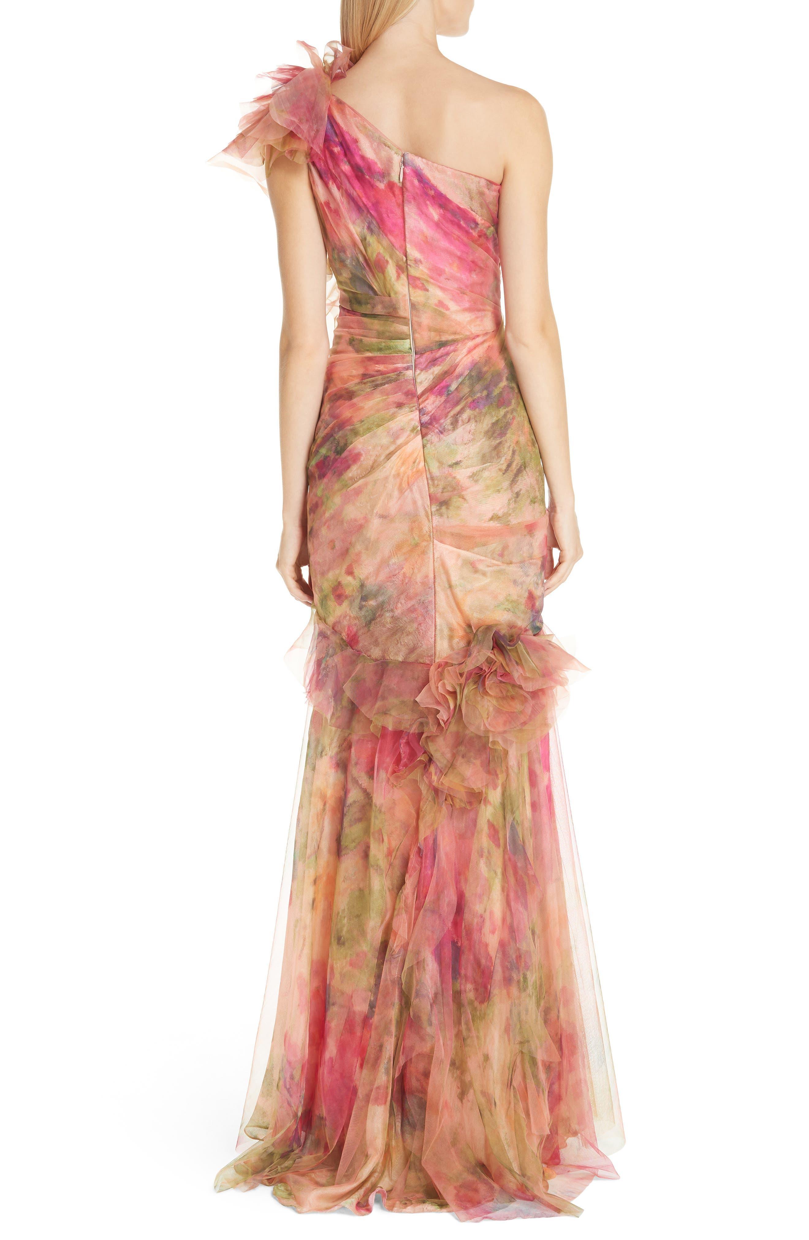 MARCHESA, Floral One-Shoulder Silk Evening Dress, Alternate thumbnail 2, color, 950