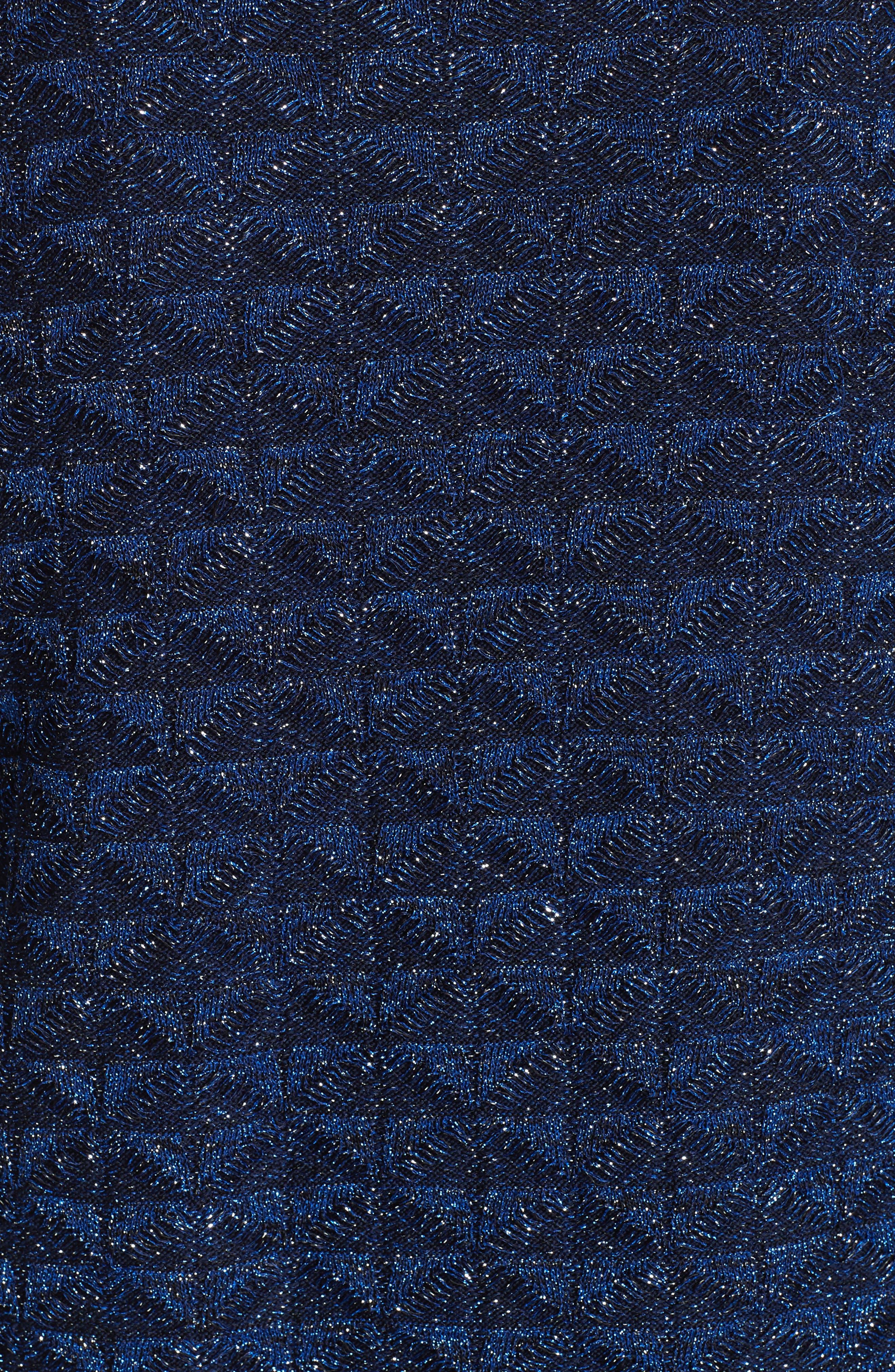 ST. JOHN COLLECTION, Diamond Lace Knit Cardigan, Alternate thumbnail 6, color, NAVY MULTI