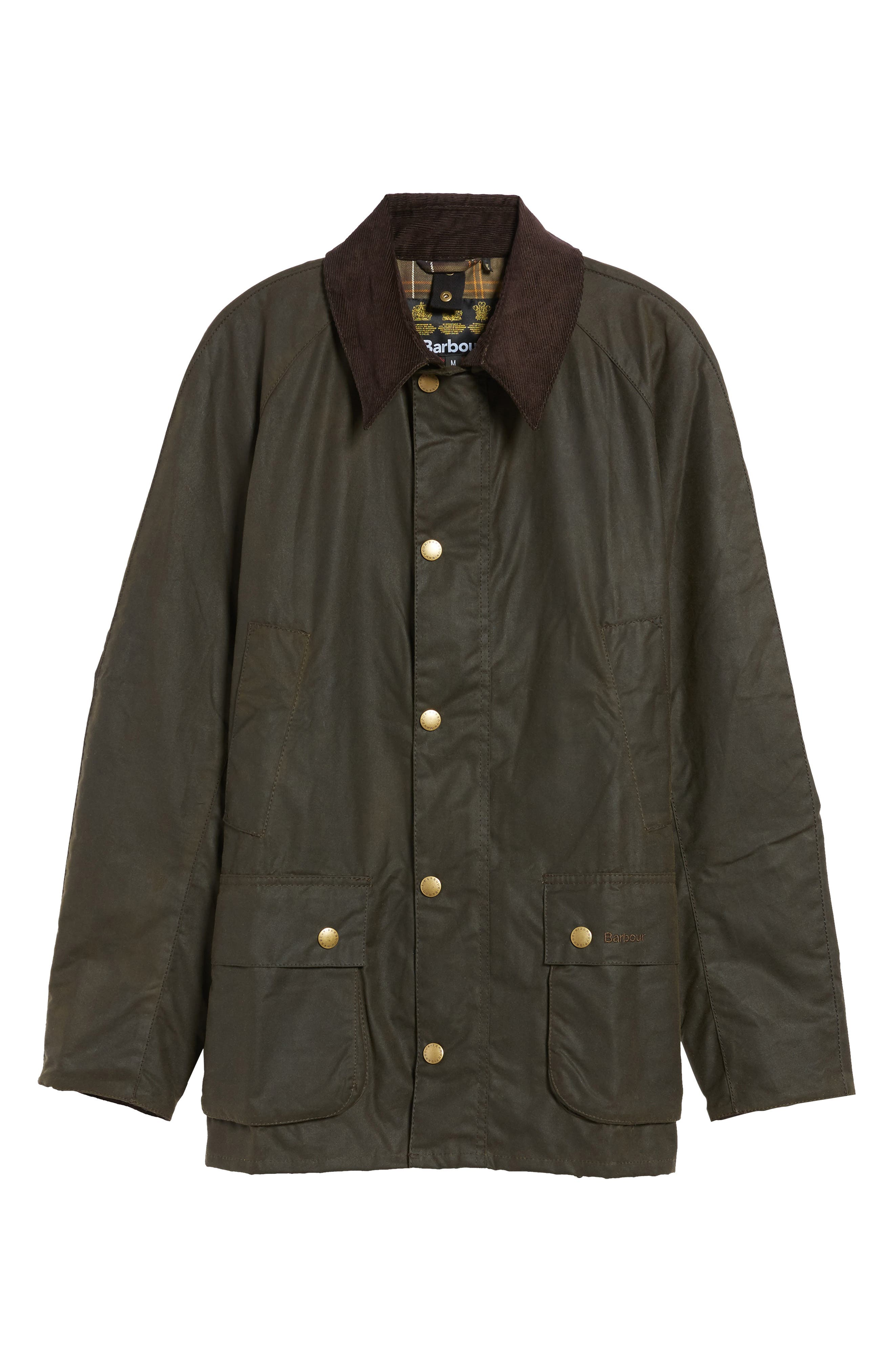 BARBOUR, Ashby Wax Jacket, Alternate thumbnail 6, color, OLIVE