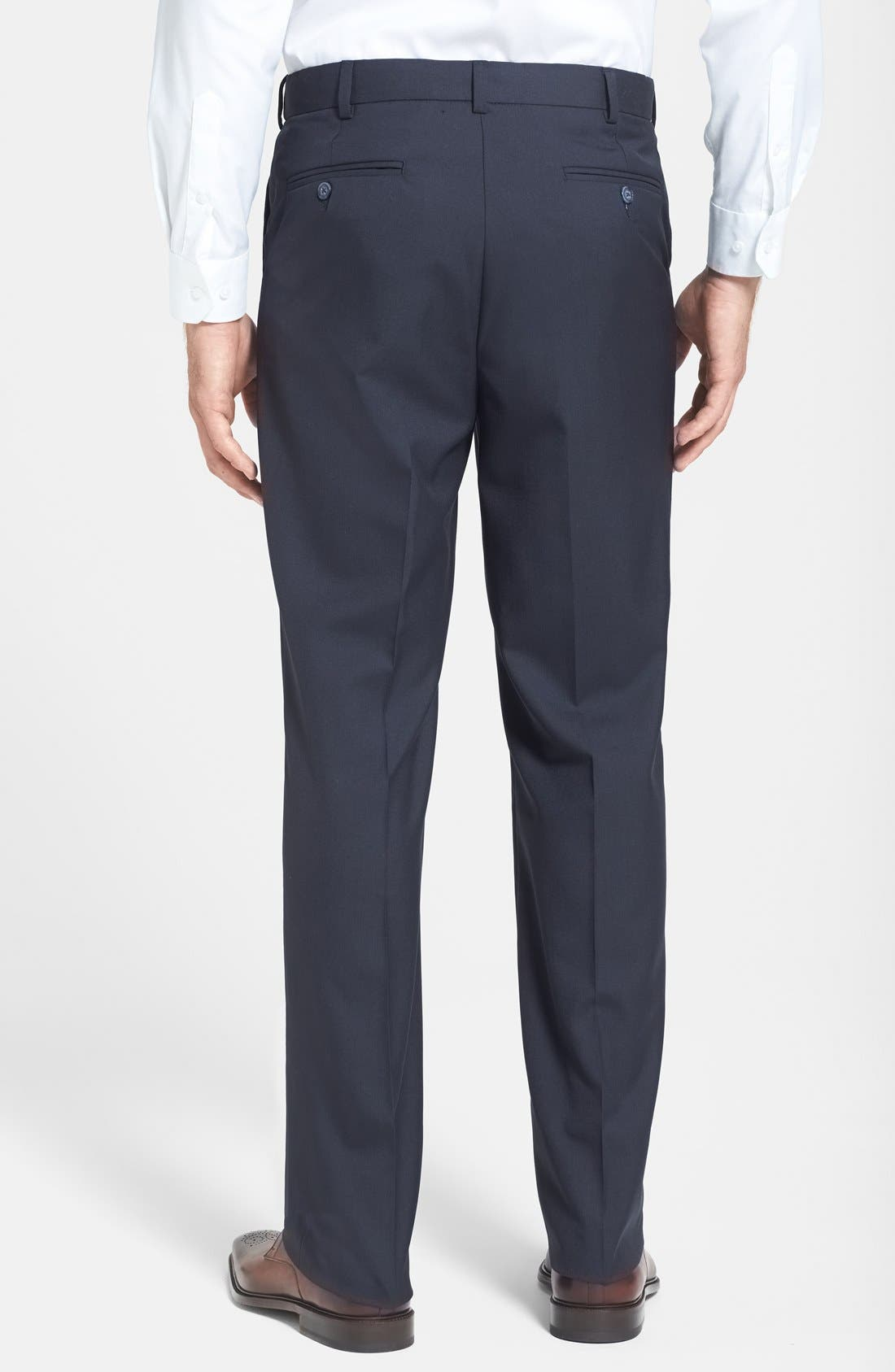 BERLE, Self Sizer Waist Tropical Weight Flat Front Trousers, Alternate thumbnail 3, color, NAVY